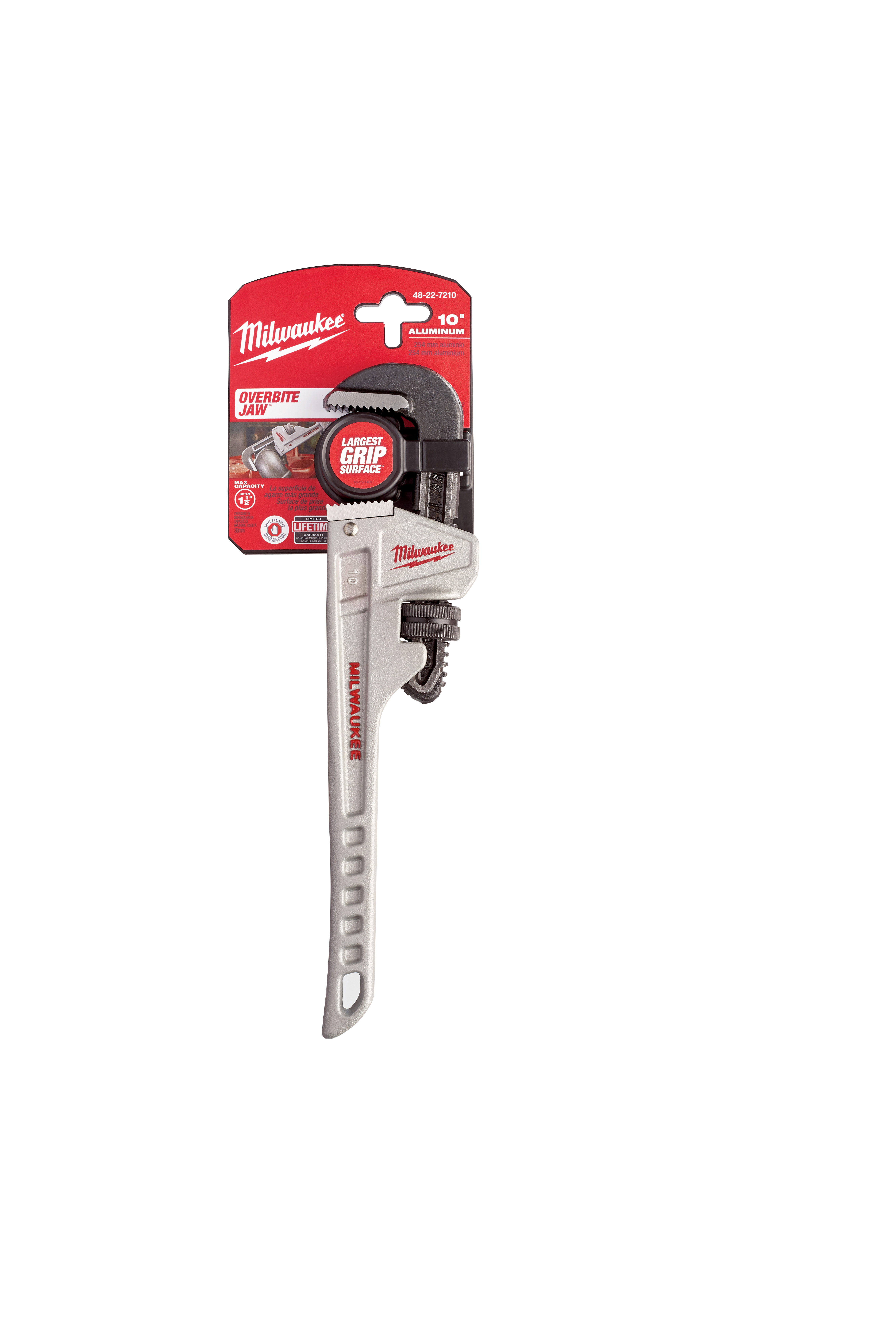 Milwaukee® OVERBITE JAW ™ 48-22-7210 Pipe Wrench, 10 in OAL, Hook Jaw, Aluminum Handle