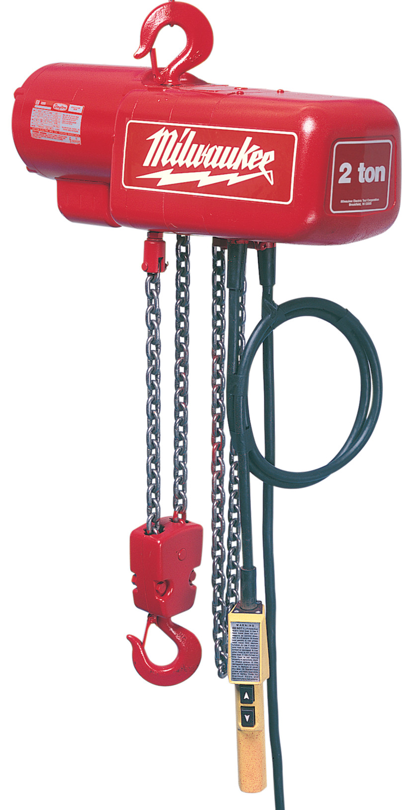 Milwaukee® 9562 1-Phase Lightweight Electric Chain Hoist, 0.5 ton Load, 20 ft H Lifting, 1/2 hp Power Rating, 115 to 230 VAC