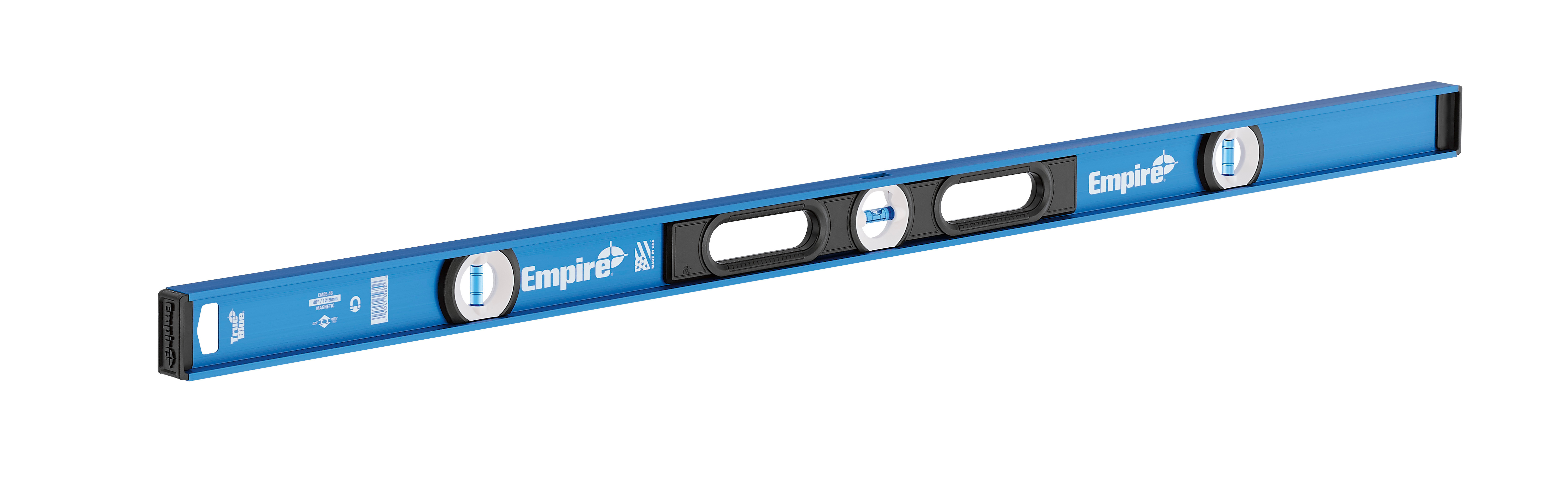 Milwaukee® Empire® EM55.48 Heavy Duty Magnetic I-Beam Level, 48 in L, 3 Vials, Aluminum, (1) Level, (2) Plumb Vial Position, 0.0005 in Accuracy
