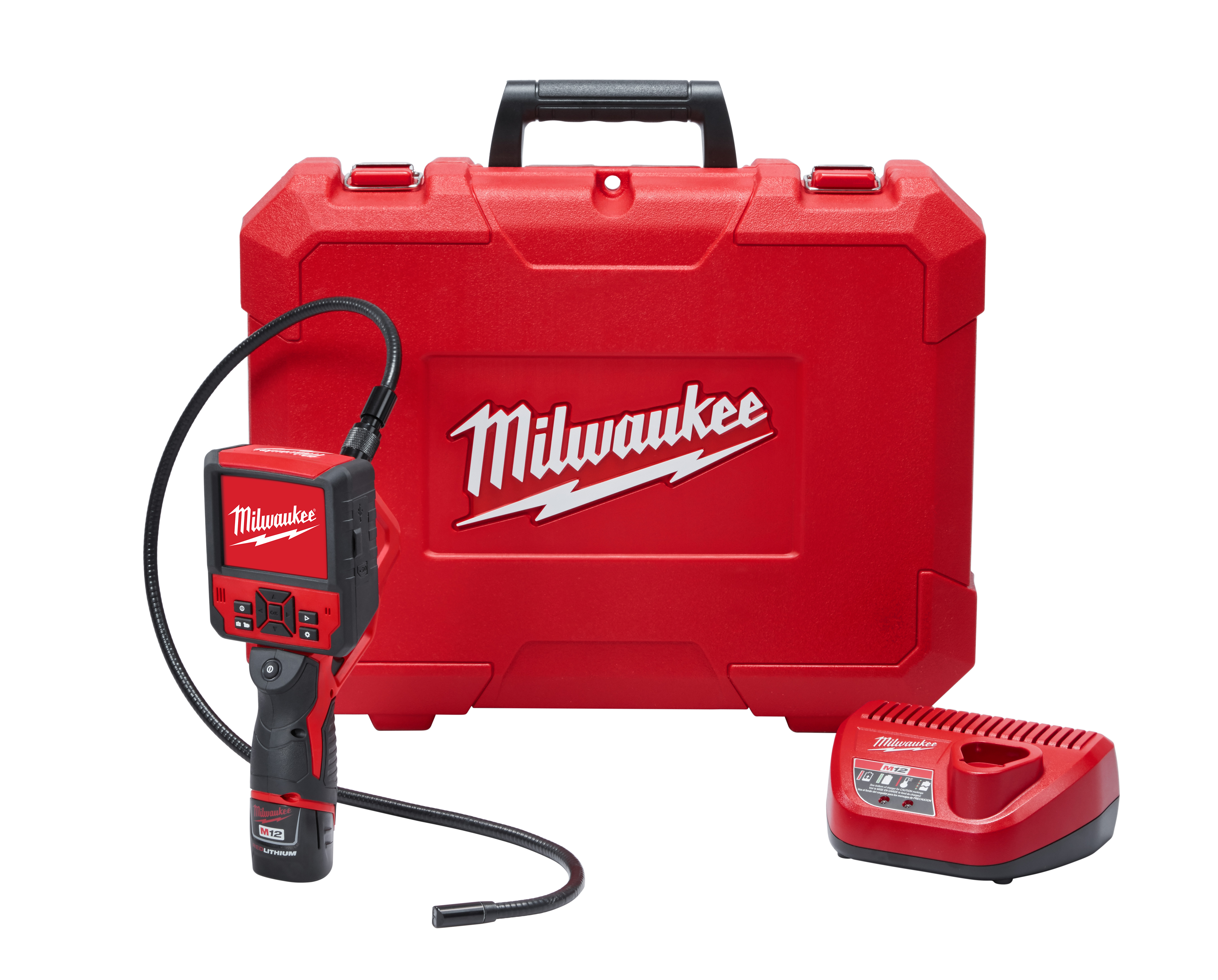 Milwaukee® M12™ 2315-21 M-Spector Flex™ Cordless Inspection Camera Cable Kit, 0.49 in Dia x 3 ft L Probe, 3-1/2 in LCD Display, Black/Red