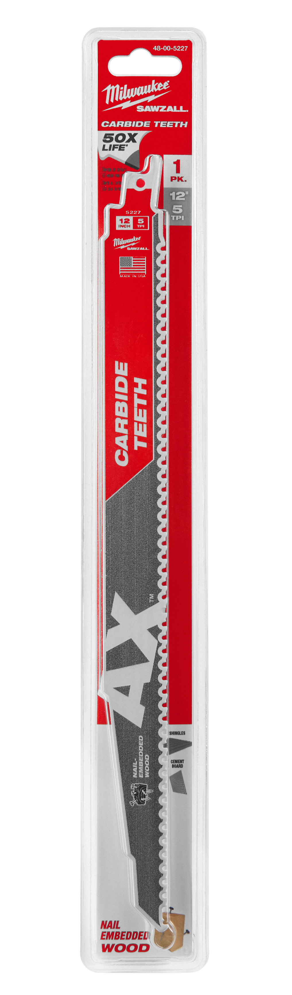 Milwaukee® SAWZALL® AX™ 48-00-5227 Tapered Back Reciprocating Saw Blade, 12 in L, 5 TPI, Carbide Body, Universal/Toothed Edge Tang