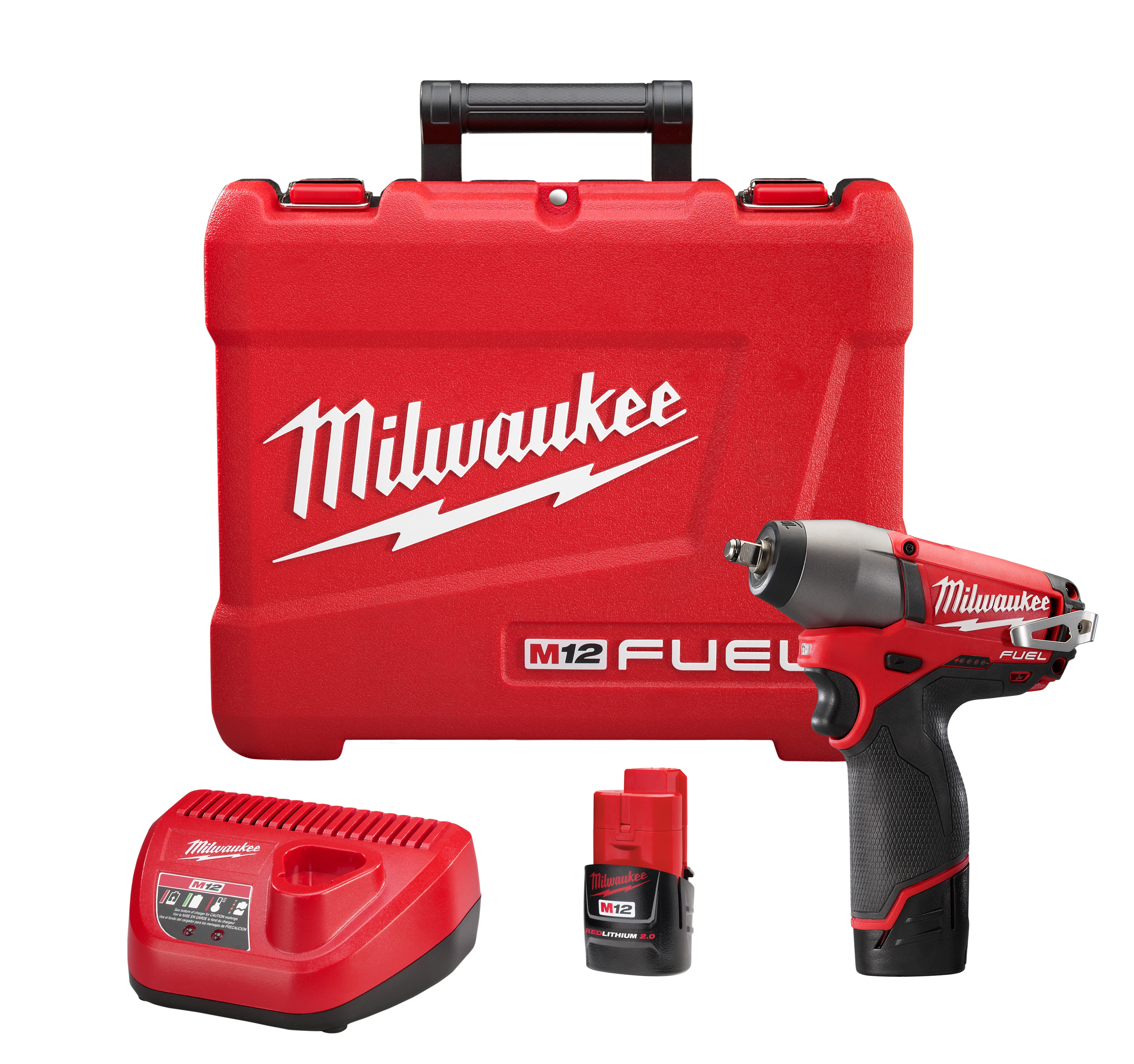Milwaukee® M12™ FUEL™ 2454-22 Cordless Impact Wrench Kit, 3/8 in Straight Drive, 0 to 2650/0 to 3500 bpm, 117 ft-lb Torque, 12 VDC, 6-1/2 in OAL