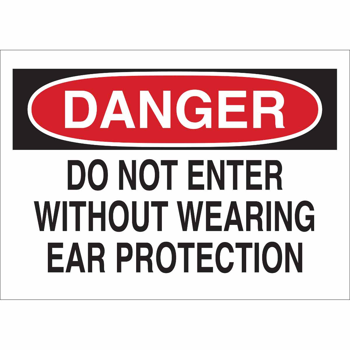 Brady® 40652 Rectangle Admittance Sign, DANGER, 10 in H x 14 in W, Black/Red on white, B-555 Aluminum, Surface Mounting
