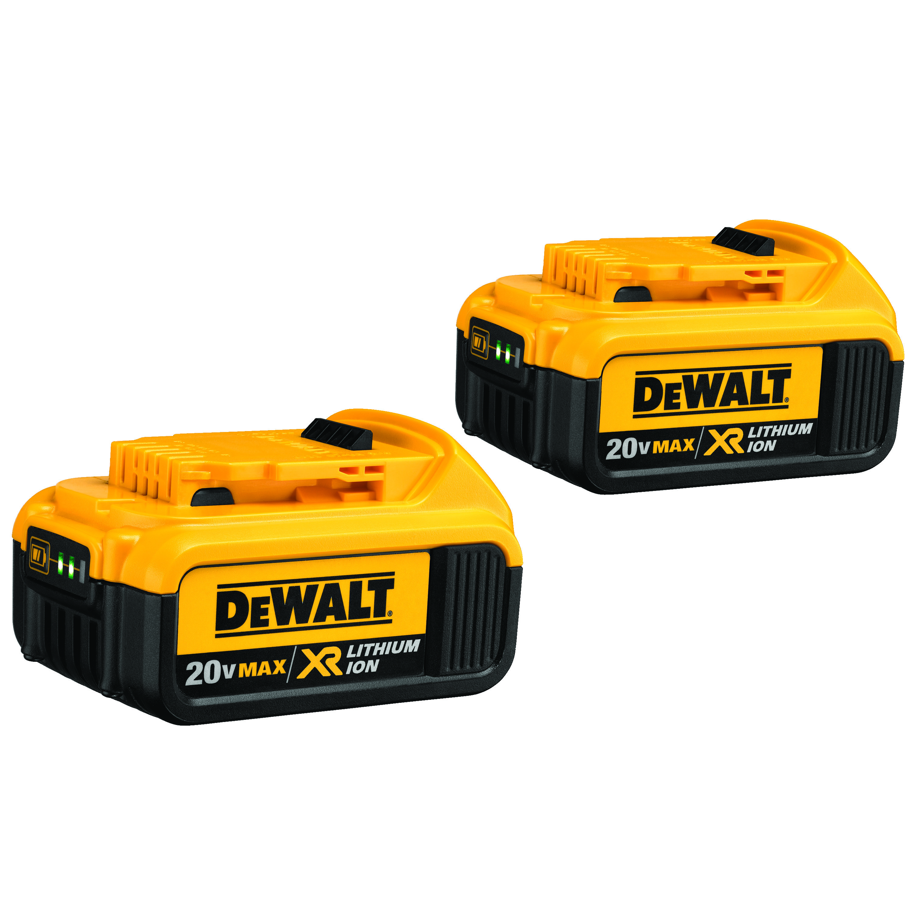 DeWALT® 20V MAX* MATRIX™ XR™ DCB204-2 2-Piece High Capacity Premium Slide, 4 Ah Lithium-Ion Battery, 20 VDC Charge, For Use With DeWALT® 20 V MAX Li-Ion Chargers and Power TMAX