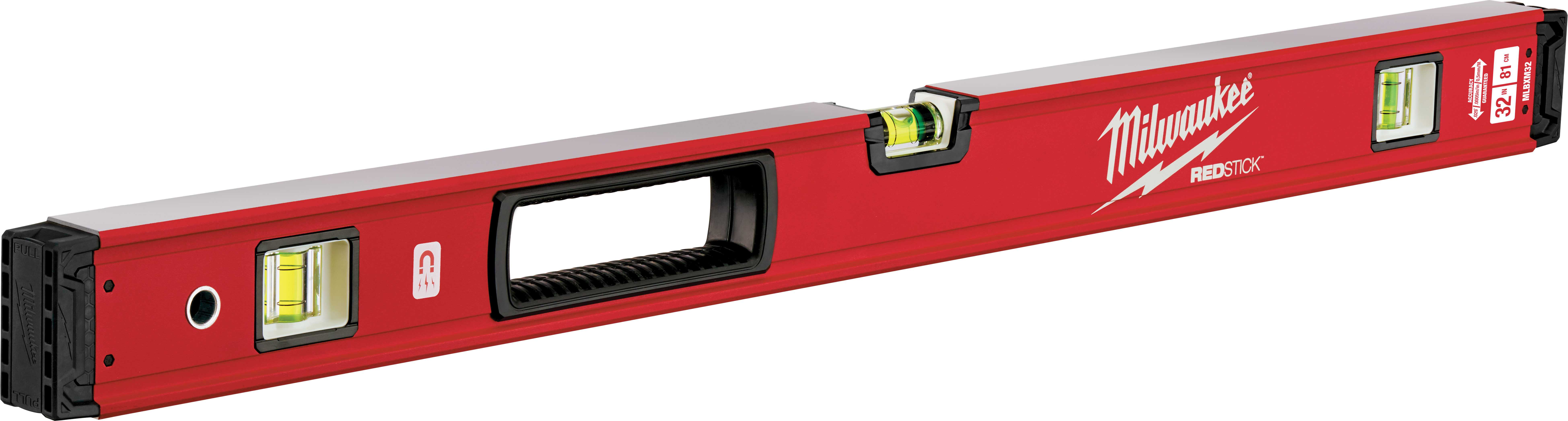 Milwaukee® REDSTICK™ MLBXM32 Magnetic Box Level, 32 in L, 3 Vials, Aluminum, (1) Level, (2) Plumb Vial Position, 0.0005 in/in Accuracy