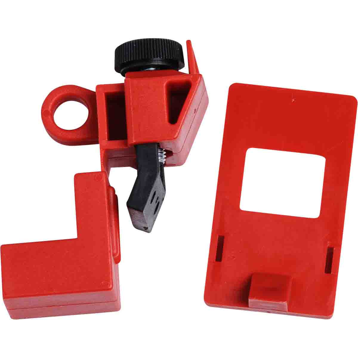 Brady® 65396 1-Pole Clamp-On Circuit Breaker Switch Lockout Device, For Use With 120/277 VAC Single Pole and Internal-Trip Multi-Pole Breaker, 1 Padlocks, 0.31 in Dia Max Padlock Shackle, LOTO-14 Polypropylene, Red