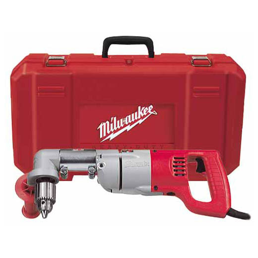 Milwaukee® 3102-6 Grounded Plumber's Right Angle Drill Kit, 1/2 in Keyed Chuck, 120 VAC, 500 rpm Speed, 16-3/4 in OAL