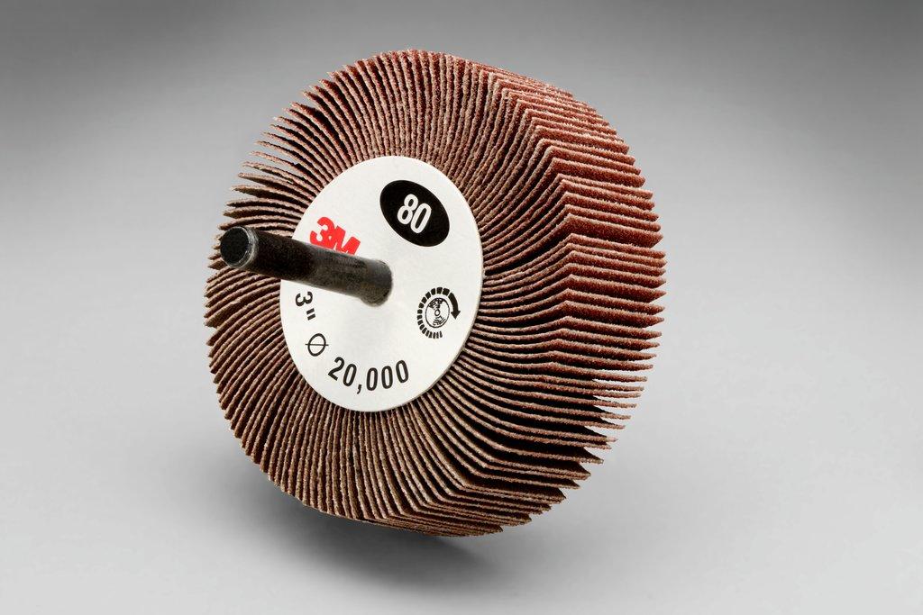 3M™ 051144-14656 Type 83 Mounted Coated Flap Wheel, 3 in Dia, 1 in W Face, 1/4 in Dia Shank, 80 Grit, Medium Grade, Aluminum Oxide Abrasive