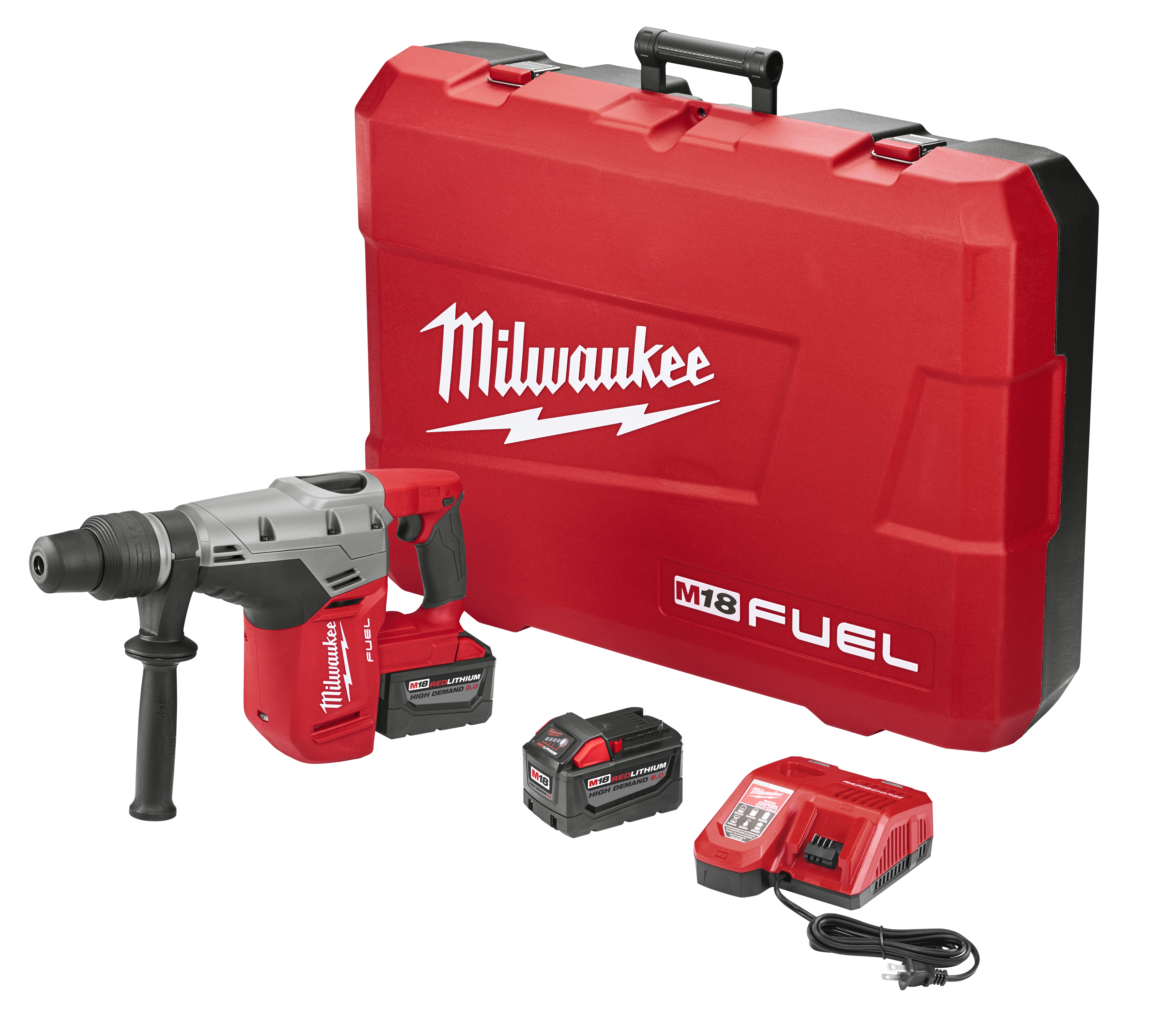 Milwaukee® M18 FUEL™ 2717-22HD Cordless Rotary Hammer Kit, 1-9/16 in SDS Max® Chuck, 18 VDC, 0 to 3000 rpm No-Load, M18™ REDLITHIUM™ Lithium-Ion Battery