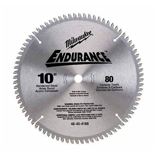Milwaukee® 48-40-4168 Endurance® Regular Kerf Circular Saw Blade, 10 in Dia x 0.071 in THK, 5/8 in Arbor, Hardened Alloy Steel Blade, 80 Teeth