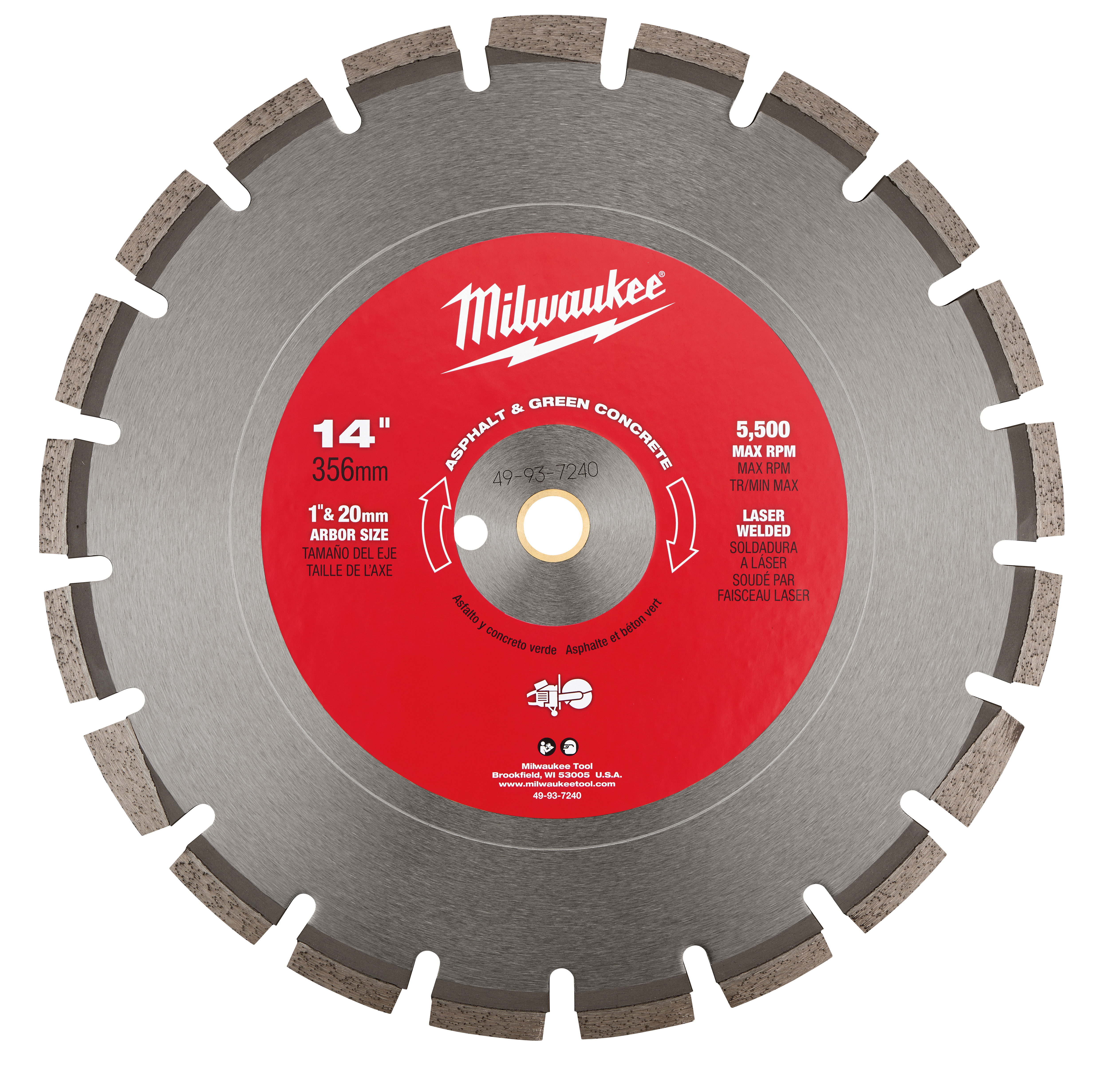 Milwaukee® 49-93-7240 Circular Segmented Diamond Blade, 14 in Dia Blade, 1/8 in W, 1 in Arbor/Shank, Dry/Wet Cutting