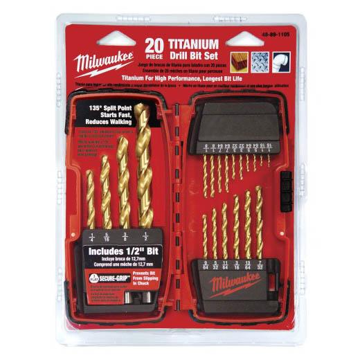 Milwaukee® Thunderbolt® Secure-Grip™ 48-89-1105 Drill Bit Set, 20 Pieces, HSS, Titanium Coated