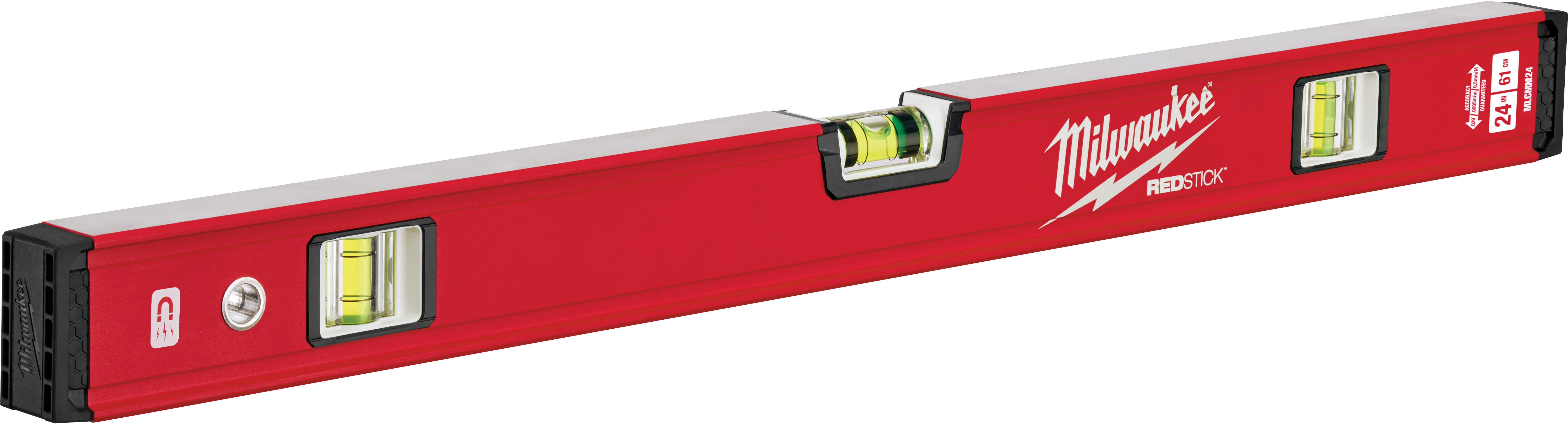 Milwaukee® REDSTICK™ MLCMM24 Compact Magnetic Box Level, 24 in L, 3 Vials, Aluminum, (1) Level, (2) Plumb Vial Position, 0.0005 in/in Accuracy