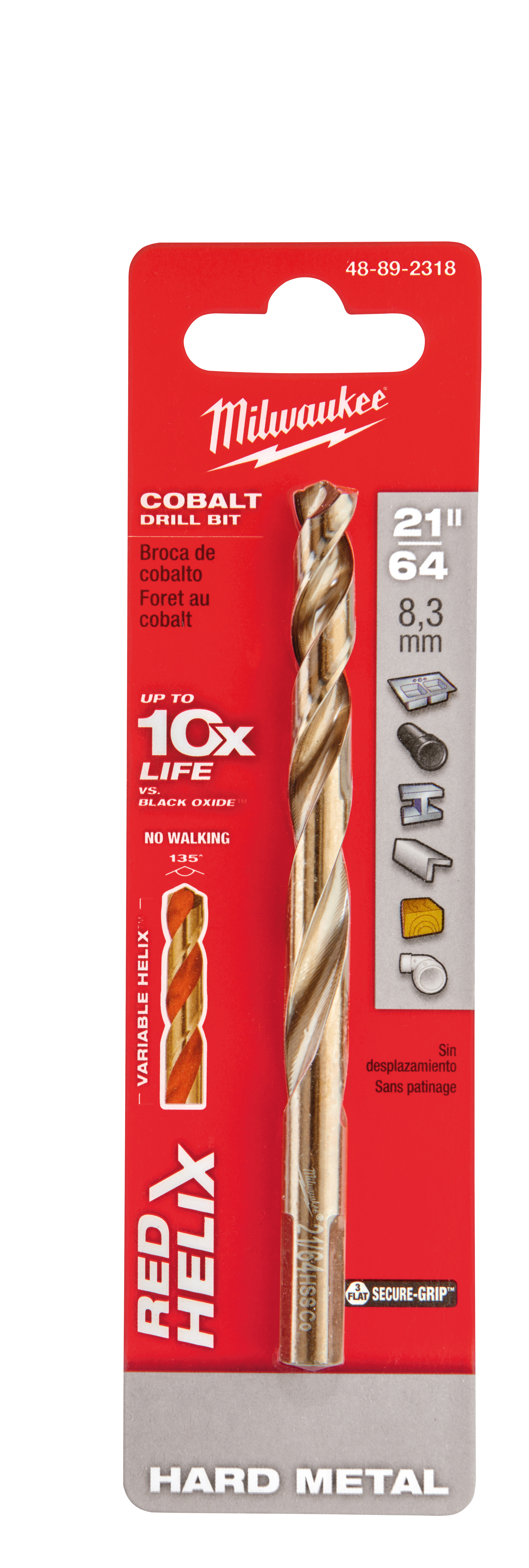 Milwaukee® 48-89-2318 RED HELIX™ Jobber Length Twist Drill Bit, 21/64 in Drill - Fraction, 0.3281 in Drill - Decimal Inch, 135 deg Point, High Speed Cobalt, Uncoated