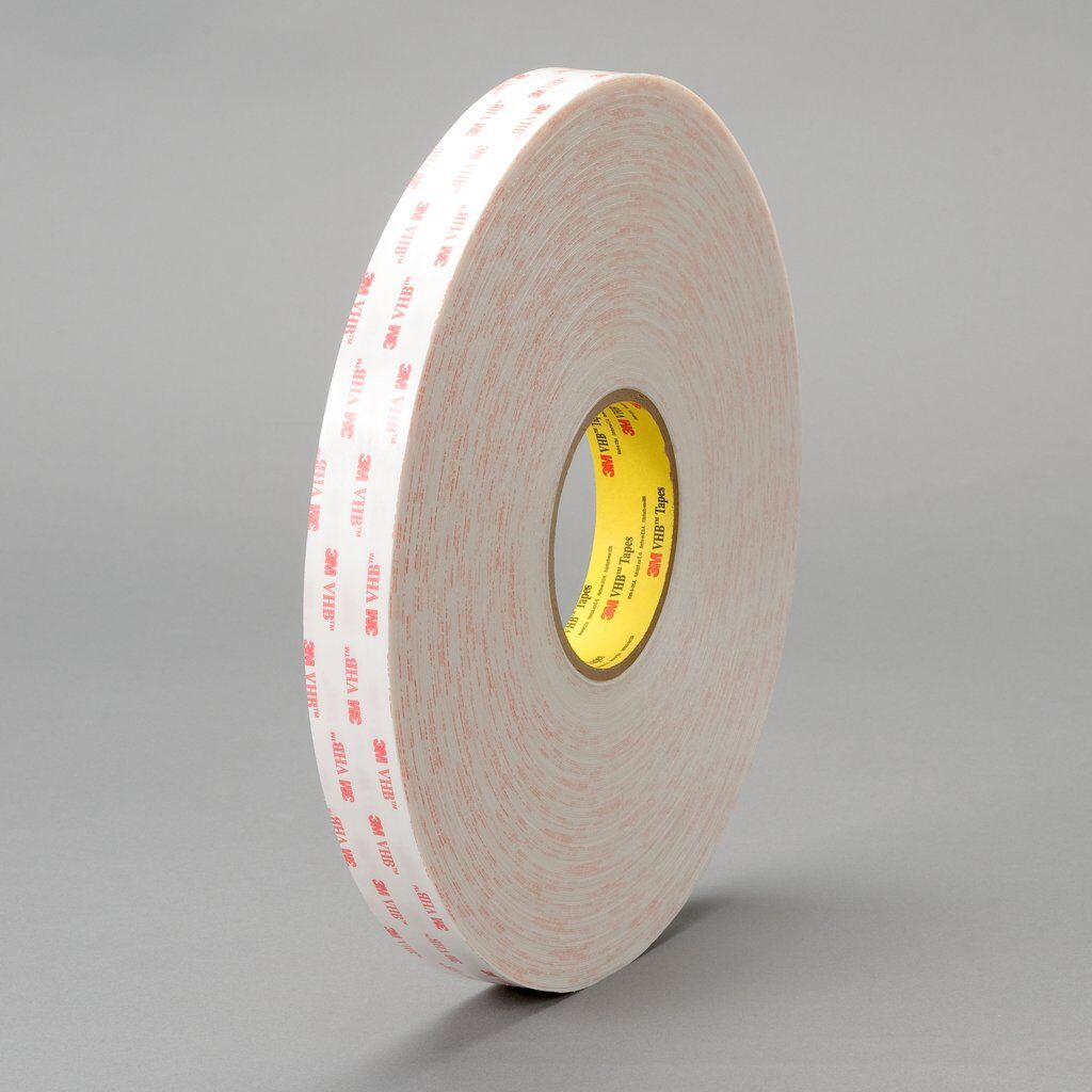 """3M™ VHB™ 4932-1""""x72yd Pressure Sensitive Double Sided Bonding Tape, 72 yd L x 1 in W, 0.025 in THK, Low Surface Energy Acrylic Adhesive, Acrylic Foam Backing, White"""