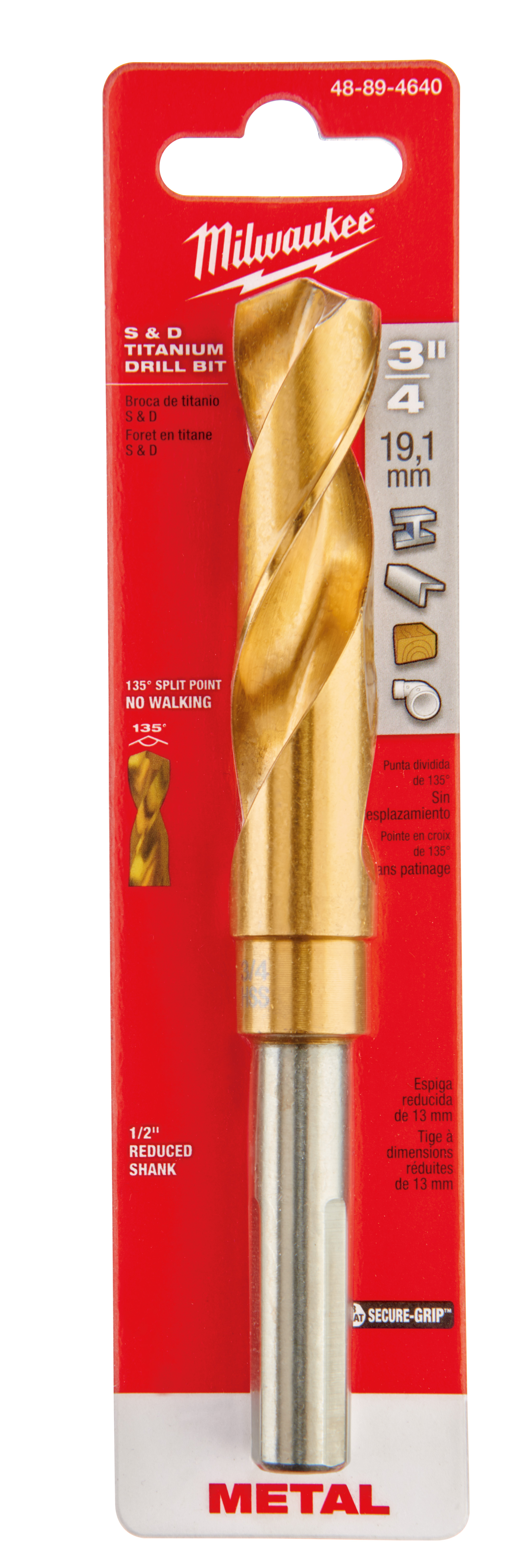 Milwaukee® 48-89-4640 Silver and Deming Drill Bit, 3/4 in Drill - Fraction, 0.75 in Drill - Decimal Inch, 1/2 in Shank, HSS