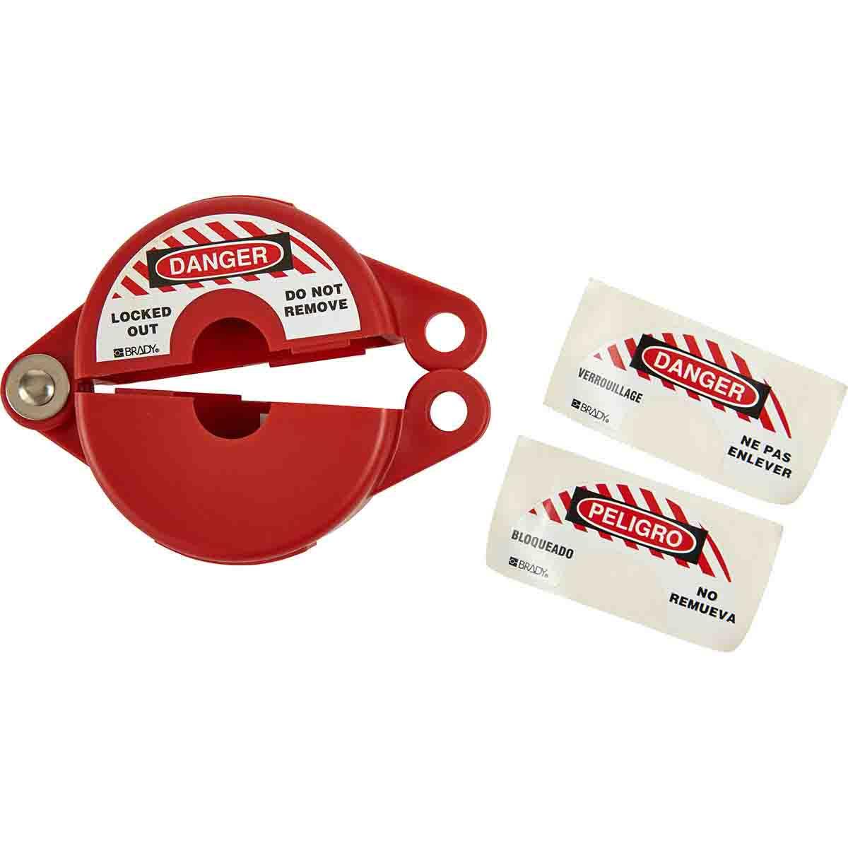 Brady® 65560 Gate Valve Lockout, Fits Minimum Handle Size: 1 in, Fits Maximum Handle Size: 2-1/2 in, 1 Padlocks, -40 deg F Min, 302 deg F max