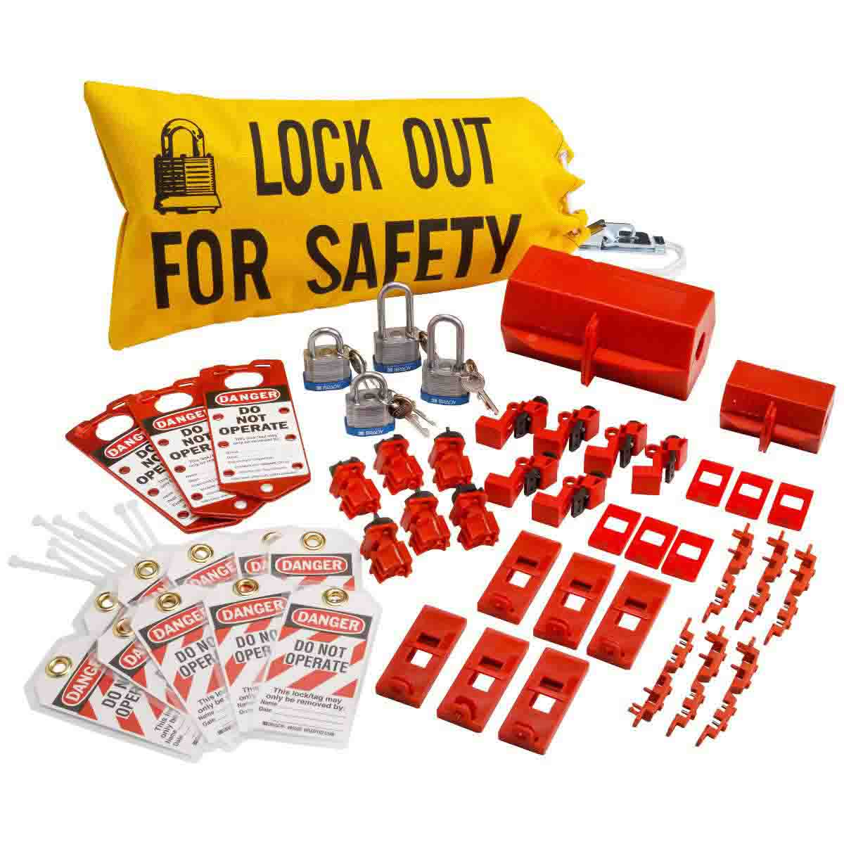 Brady® 65777 Electrical Risk Portable Lockout Starter Kit, Filled, 43 Pieces, 9-3/4 in H x 18 in W, Language: English