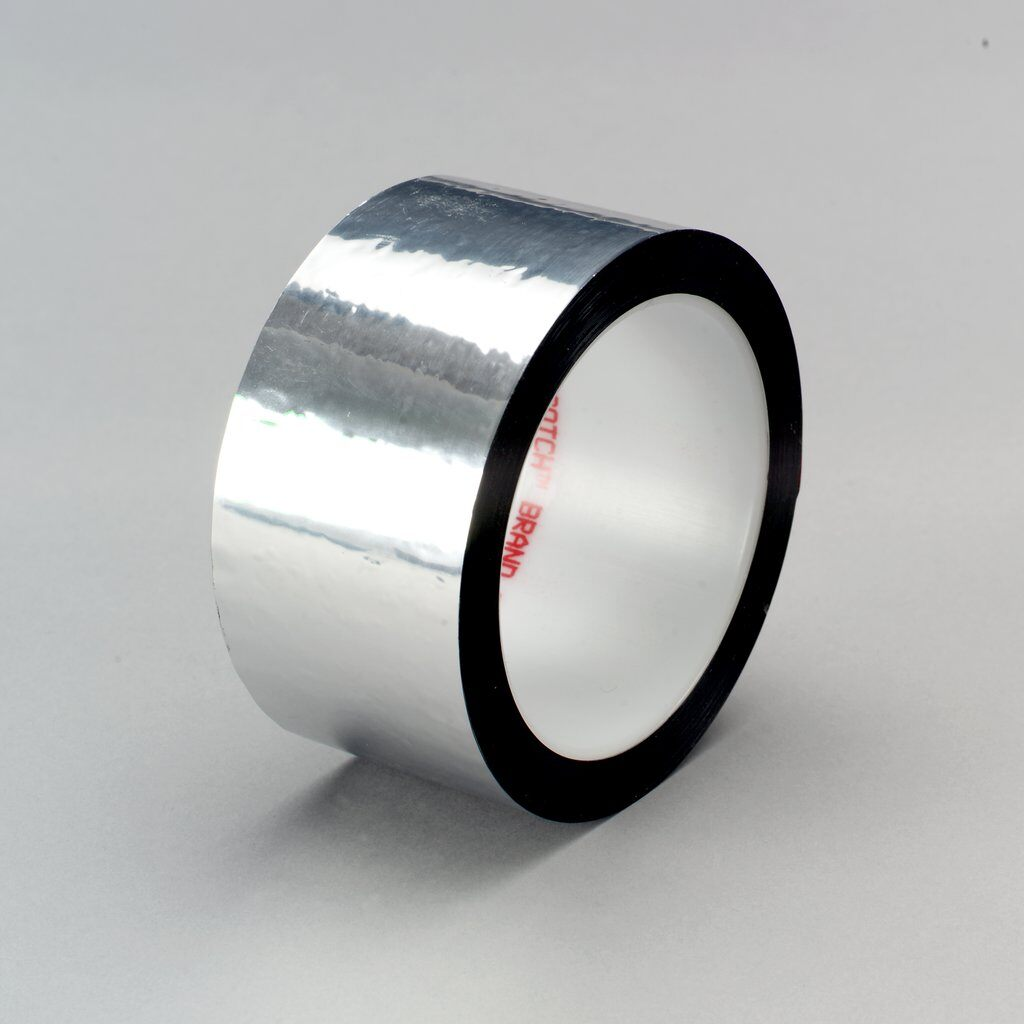 3M™ 850 Film Tape, 72 yd L x 2 in W, 1.9 mil THK, Acrylic Adhesive, Polyester Backing, Silver