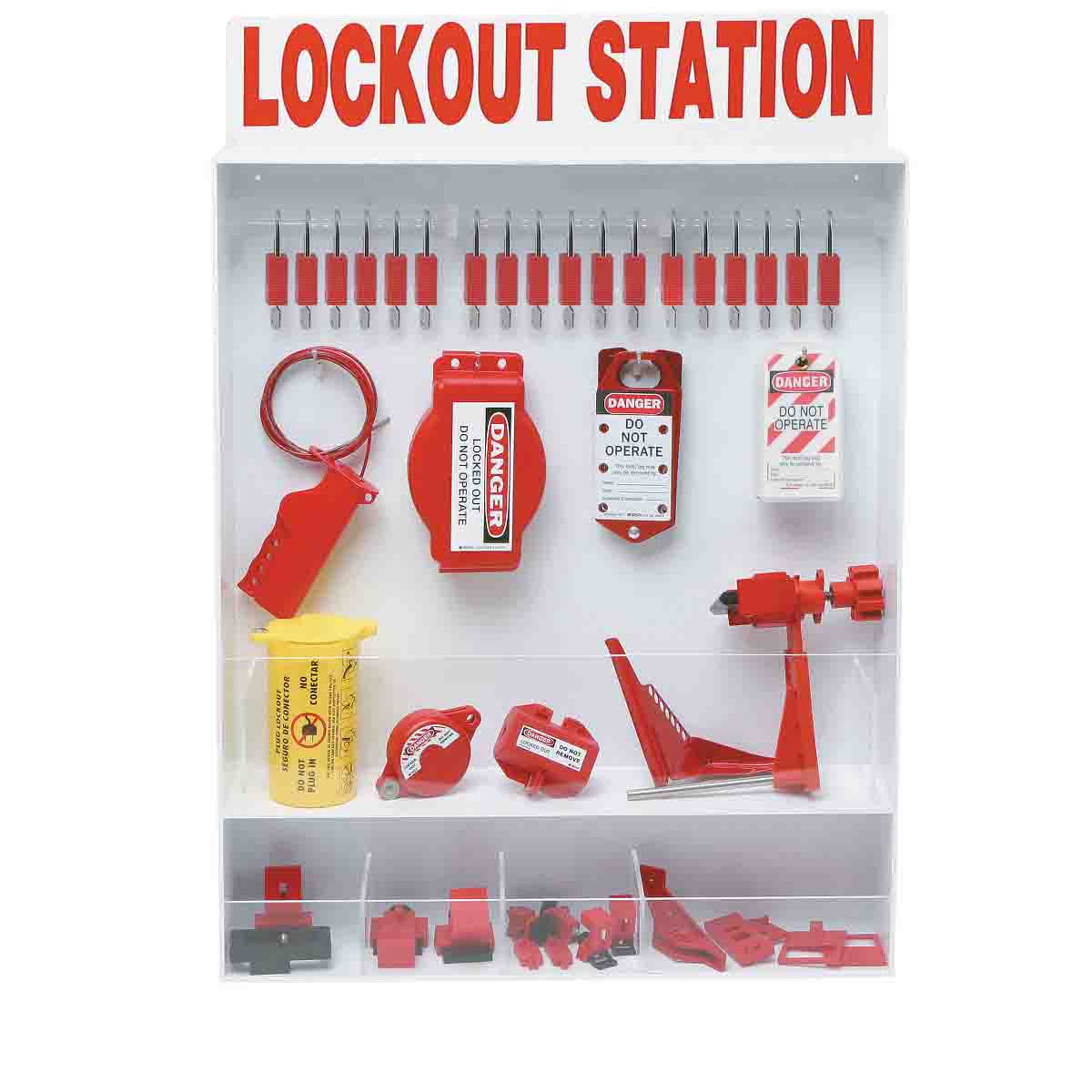 Brady® 99693 Extra Large Lockout Station, Filled, 64 Pieces, 18 Padlocks, 30 in H x 25 in W x 5-1/4 in D, Wall Mount, Language: English