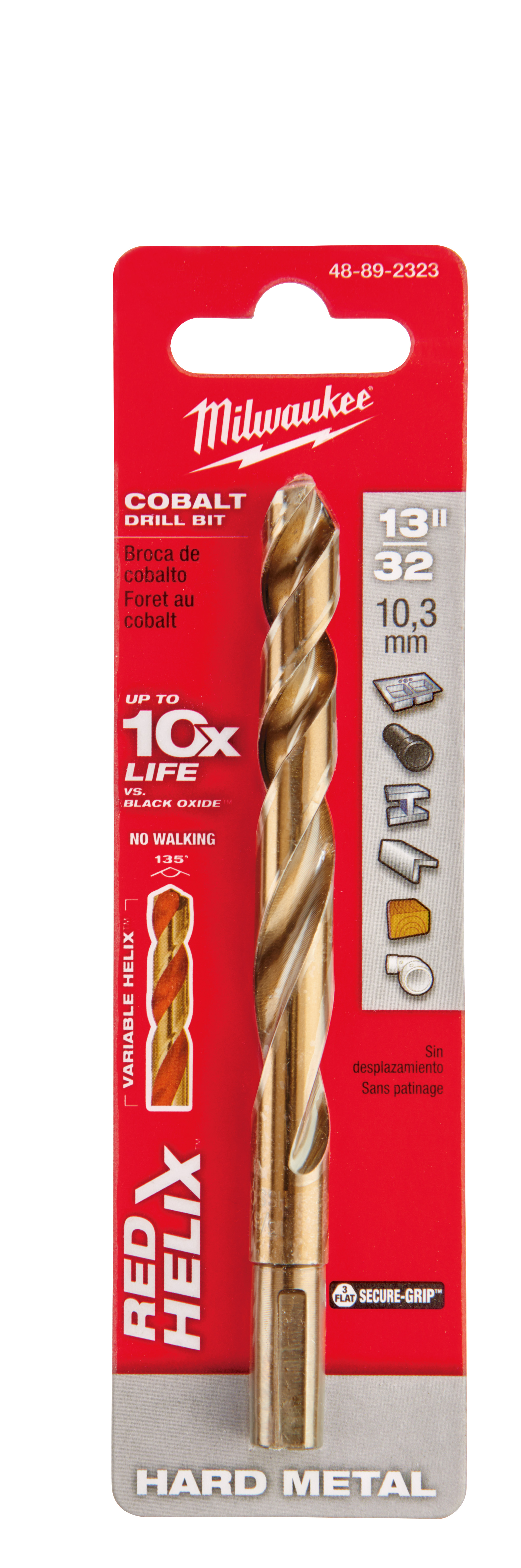 Milwaukee® 48-89-2323 RED HELIX™ Jobber Length Twist Drill Bit, 13/32 in Drill - Fraction, 0.4062 in Drill - Decimal Inch, 135 deg Point, High Speed Cobalt, Uncoated