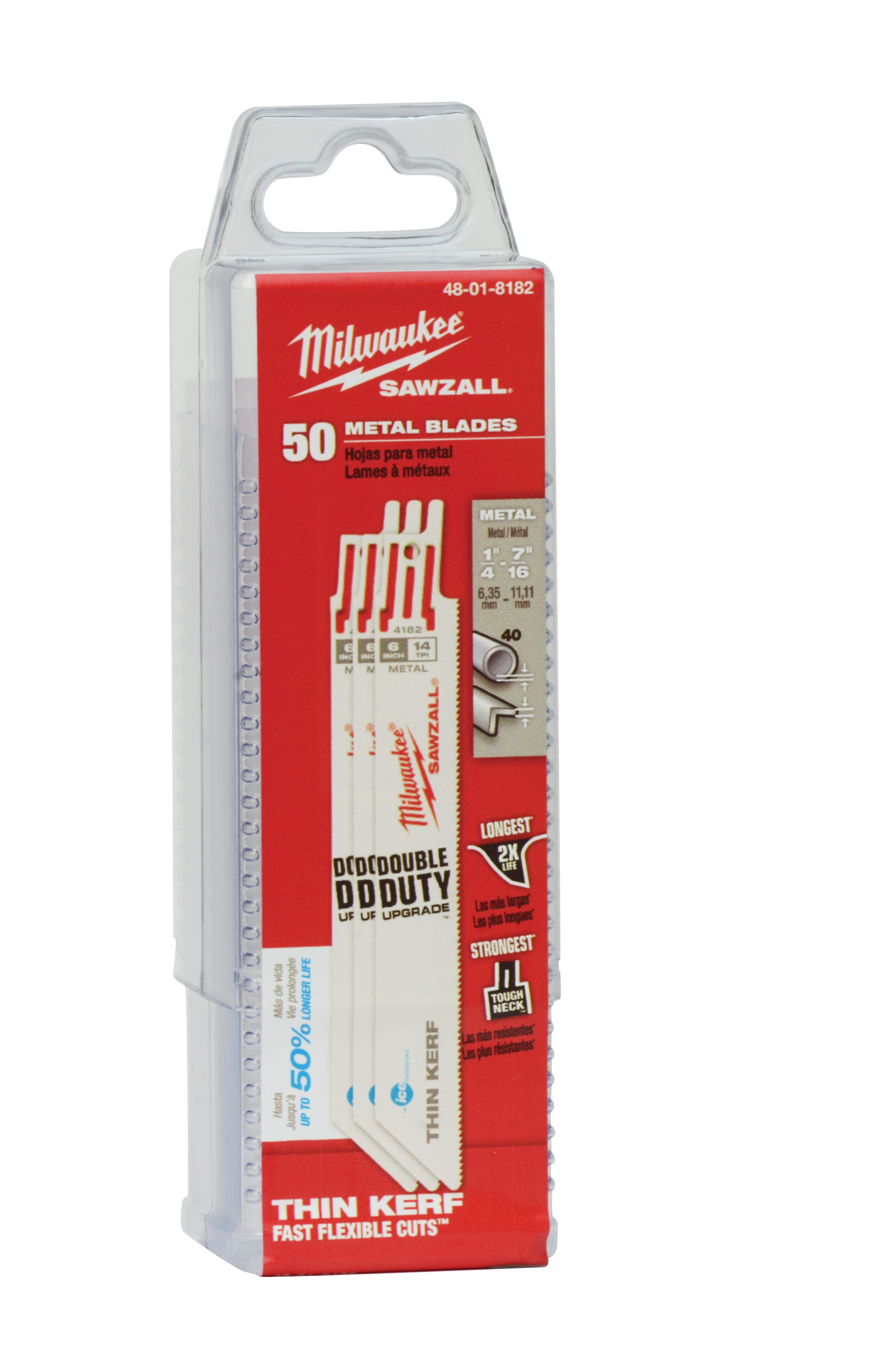 Milwaukee® SAWZALL® Ice Hardened™ 48-01-8093 Straight Back Thin Kerf Reciprocating Saw Blade, 8 in L x 3/4 in W, 8/12 TPI, Bi-Metal Body, Universal/Toothed Edge Tang