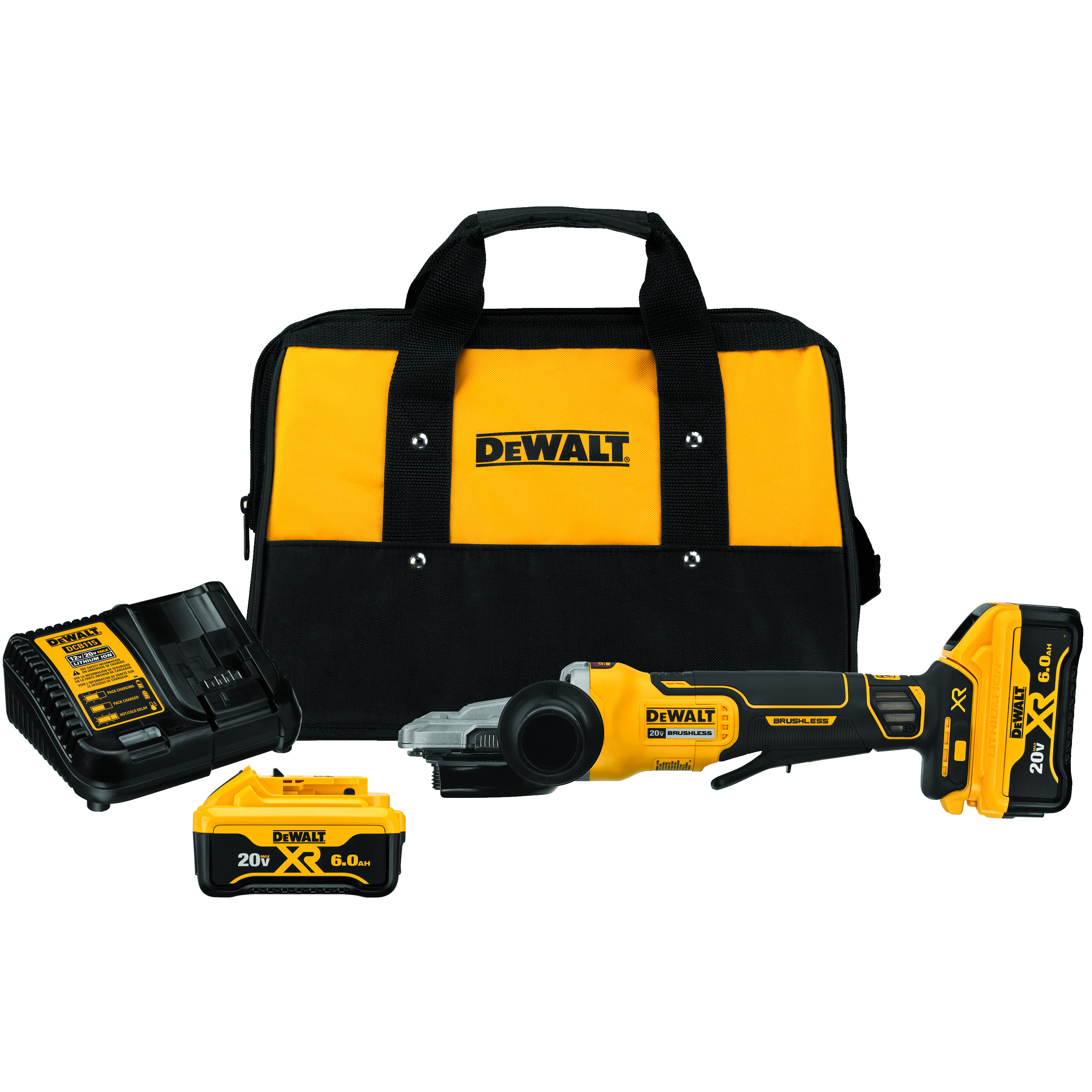 DeWALT® DCG413FR2 Small Angle Grinder Kit With Kickback Brake, 5 in Dia Wheel, 20 VDC, Lithium-Ion Battery, 1 Batteries, Flathead Paddle Switch