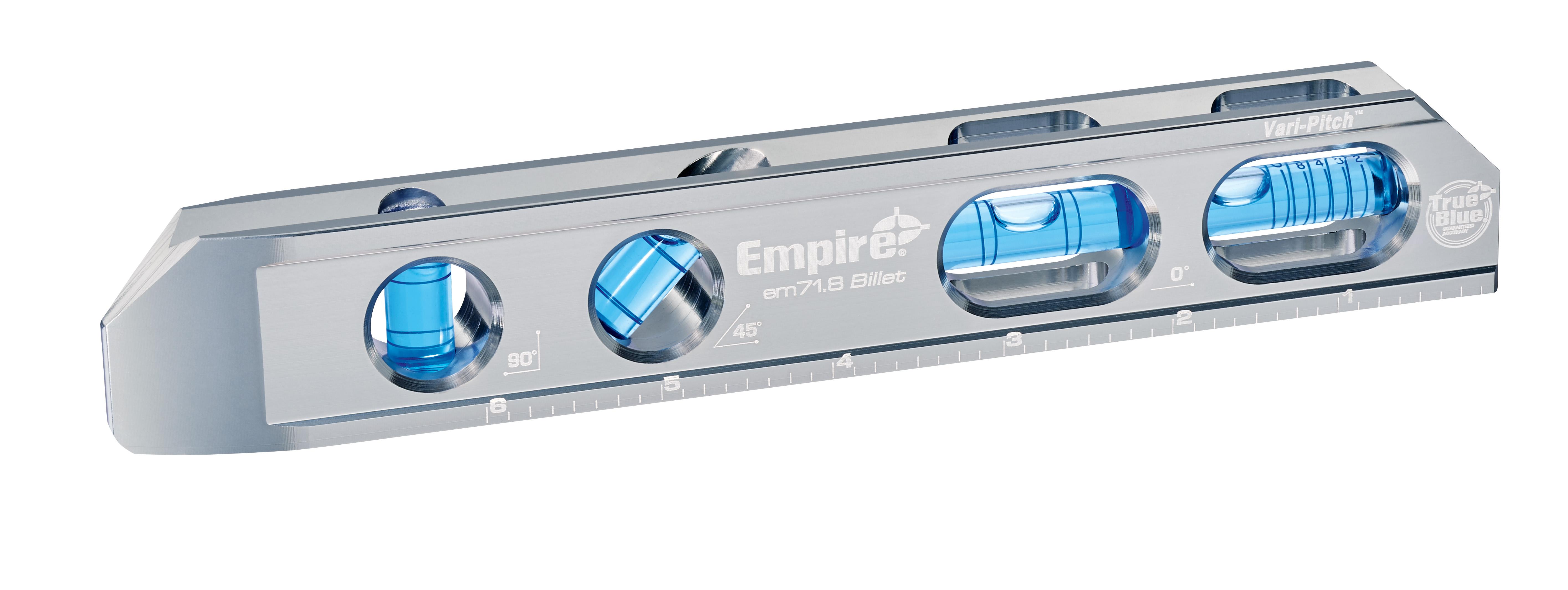 Milwaukee® Empire® TRUE BLUE® EM71.8 Magnetic Billet Torpedo Level, 8 in L, 4 Vials, Aluminum, (1) 0 deg, (1) 30 deg, (1) 45 deg, (1) 90 deg Vial Position, 0.0005 in Accuracy