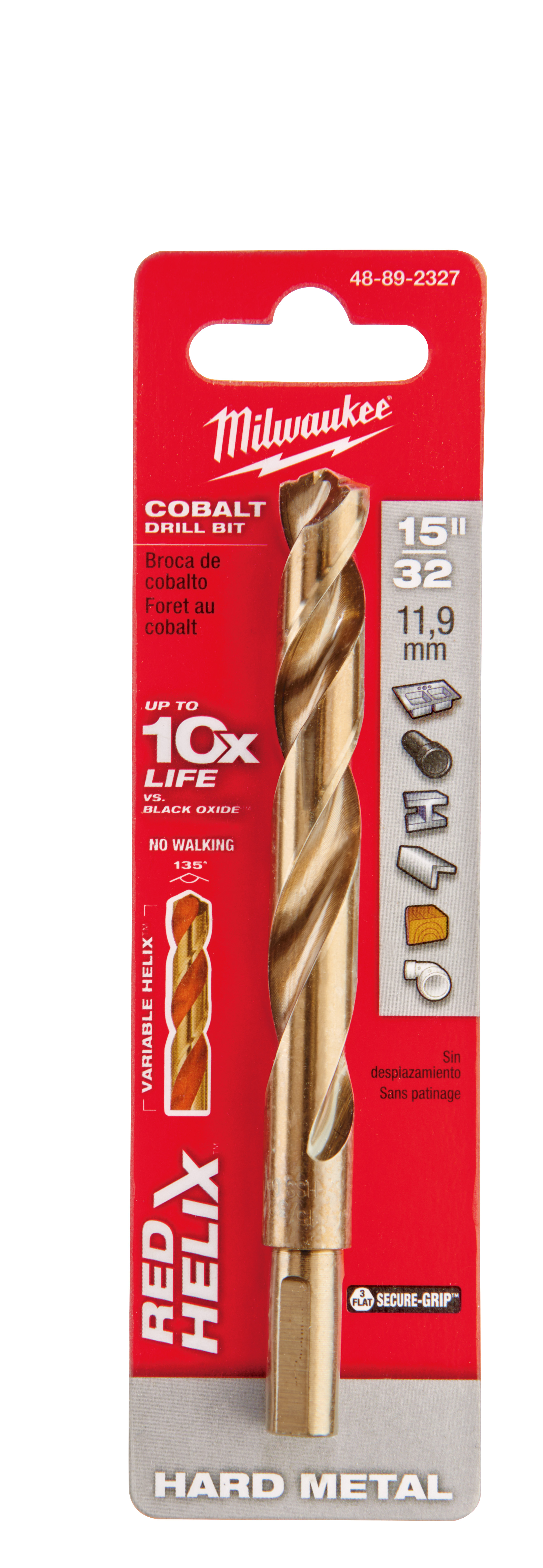 Milwaukee® 48-89-2327 RED HELIX™ Jobber Length Twist Drill Bit, 15/32 in Drill - Fraction, 0.4688 in Drill - Decimal Inch, 135 deg Point, High Speed Cobalt, Uncoated