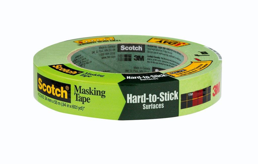 3M™ 2060-1A-24mmx55m Masking Tape, 55 m L x 24 mm W, 0.001 in THK, Rubber Adhesive, Crepe Paper Backing