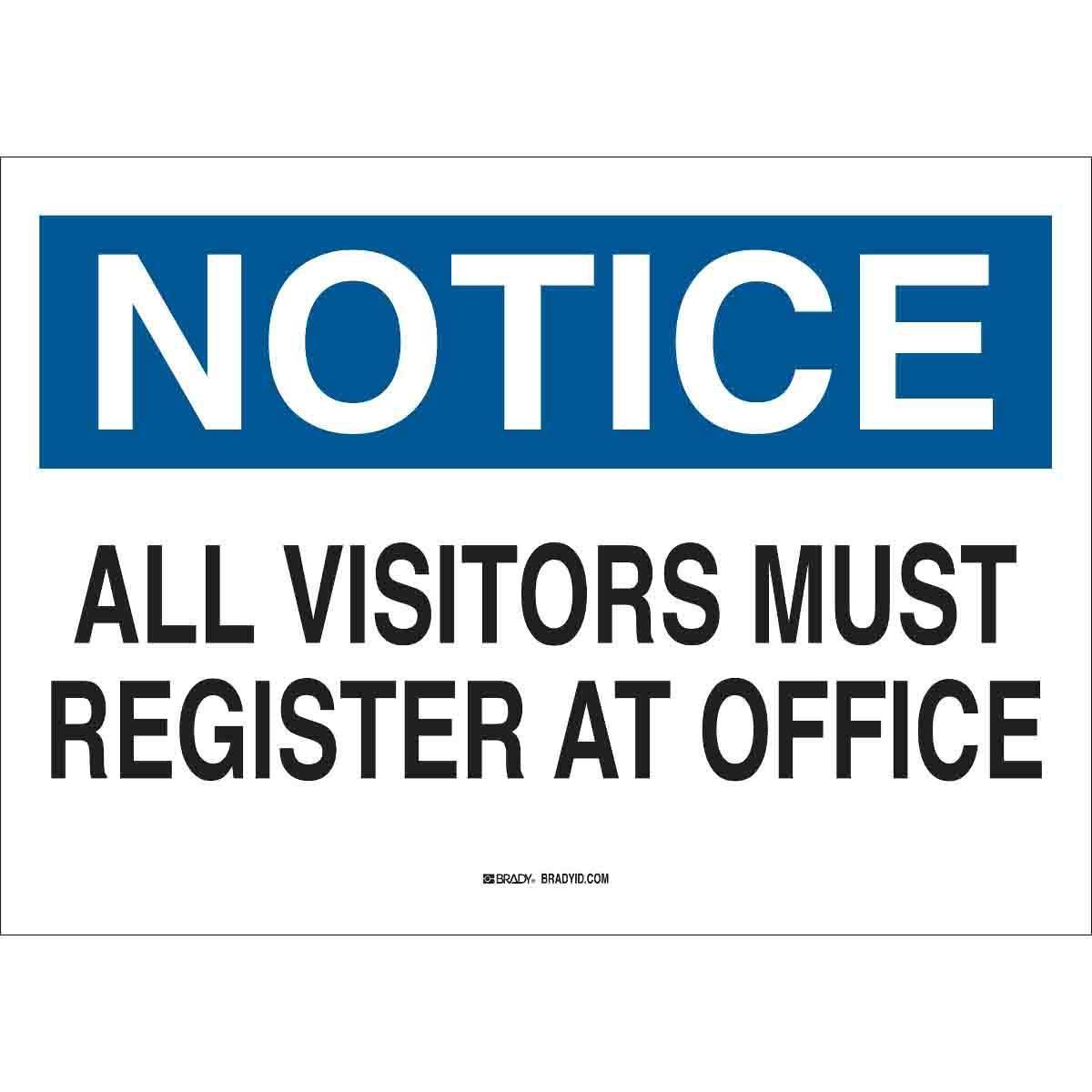 Brady® 95278 Rectangular Admittance Sign, 10 in H x 14 in W, Black/Blue on White, B-120 Fiberglass, Corner Holes Mount