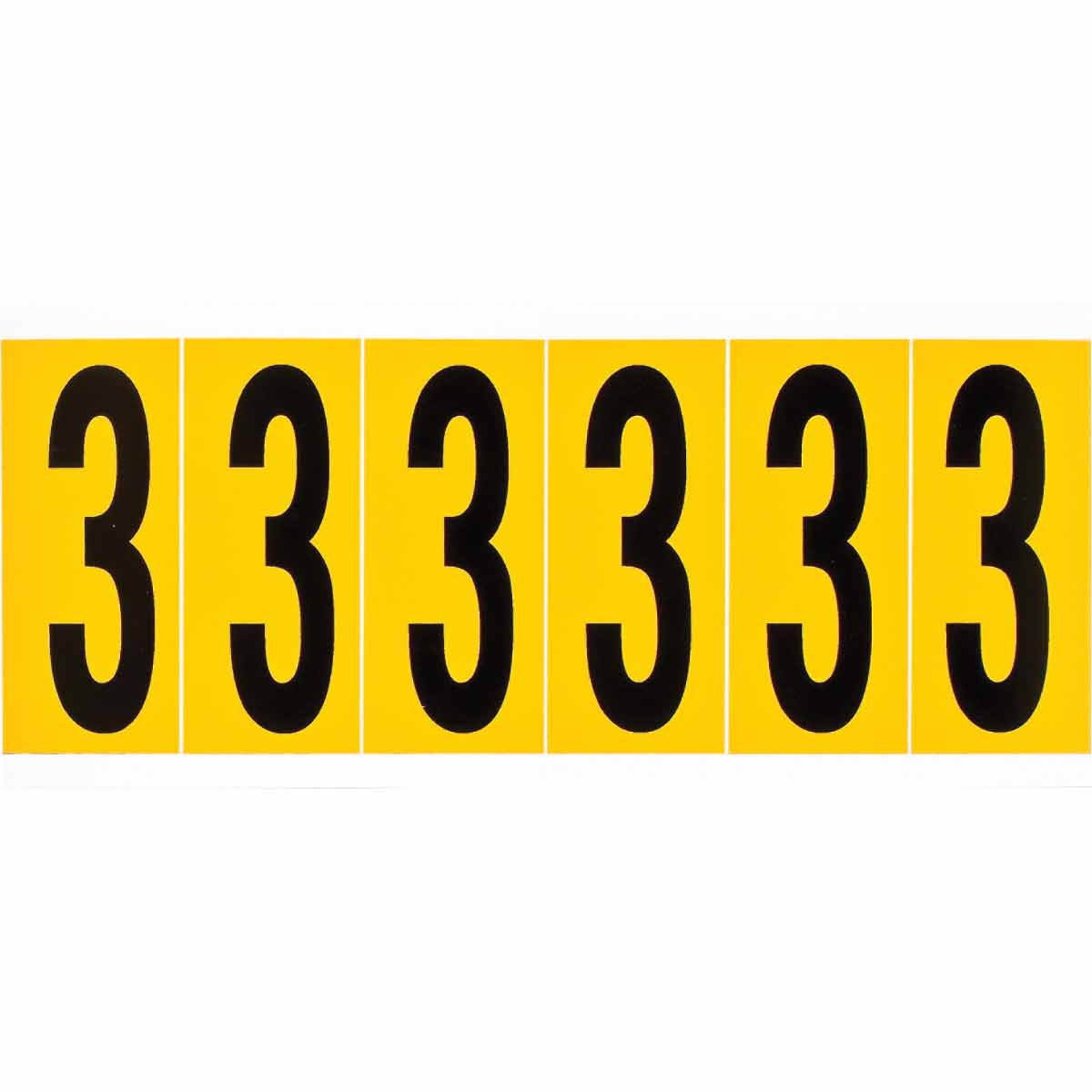 Brady® 1550-3 Non-Reflective Standard Number Label, 2.938 in H Black 3 Character, Yellow Background, B-946 Vinyl