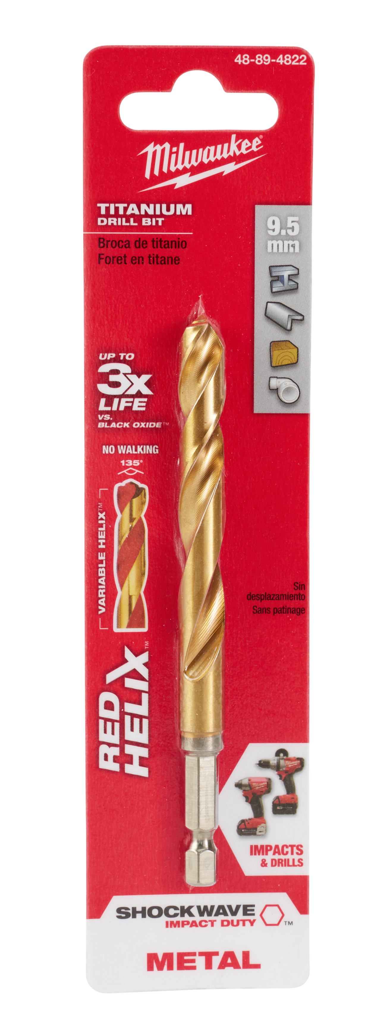 Milwaukee® SHOCKWAVE™ RED HELIX™ 48-89-4822 Hex Shank Impact Drill Bit, 9.5 mm Drill - Metric, 0.374 in Drill - Decimal Inch, (2