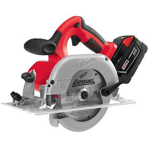 Milwaukee® M18™ 0730-22 Cordless Circular Saw Kit, 6-1/2 in Blade, 5/8 in Arbor/Shank, 28 VDC, 1-9/16 in at 45 deg, 2-1/8 in at 90 deg D Cutting, Lithium-Ion Battery, Left Blade Side