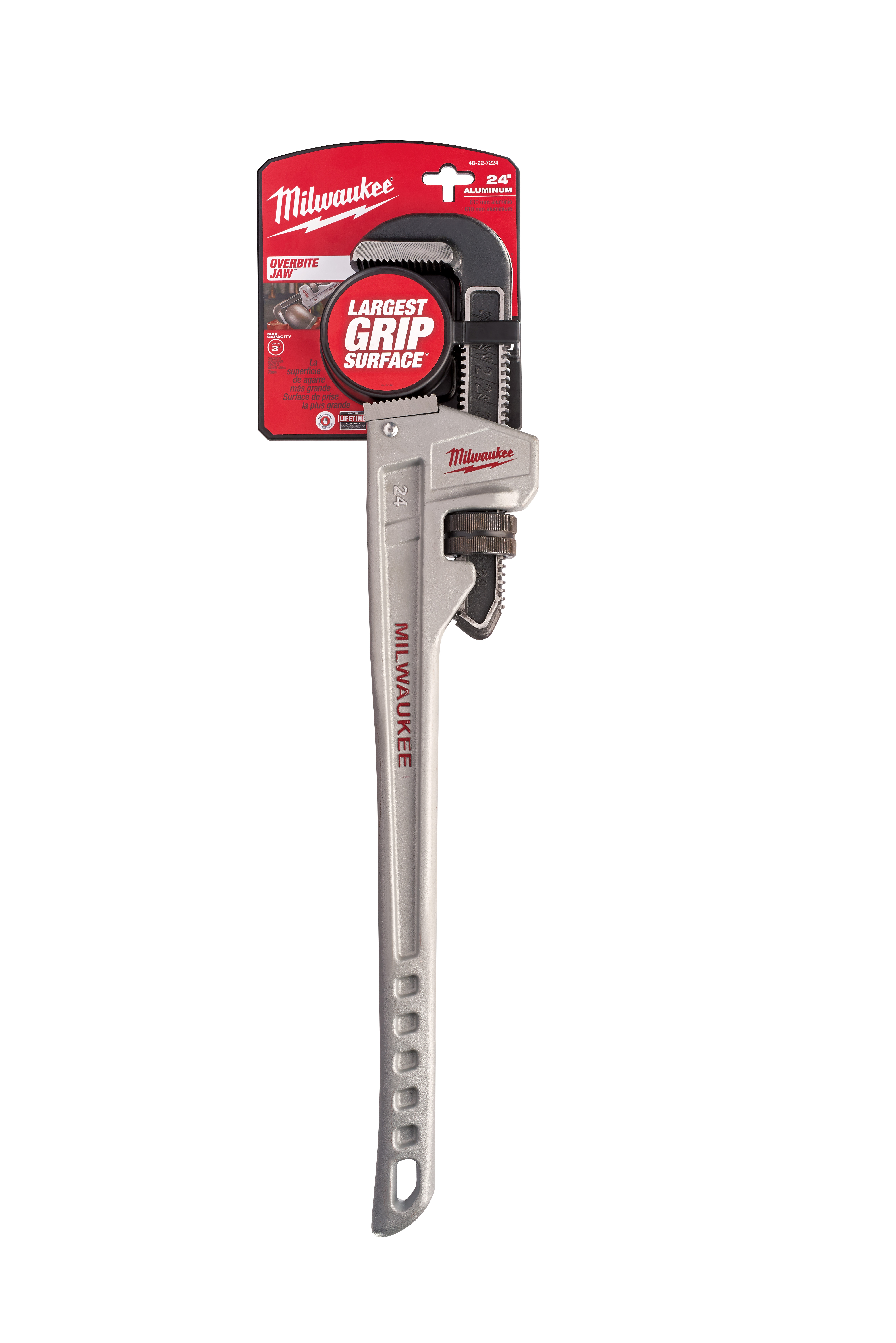 Milwaukee® OVERBITE JAW ™ 48-22-7224 Pipe Wrench, 24 in OAL, Hook Jaw, Aluminum Handle