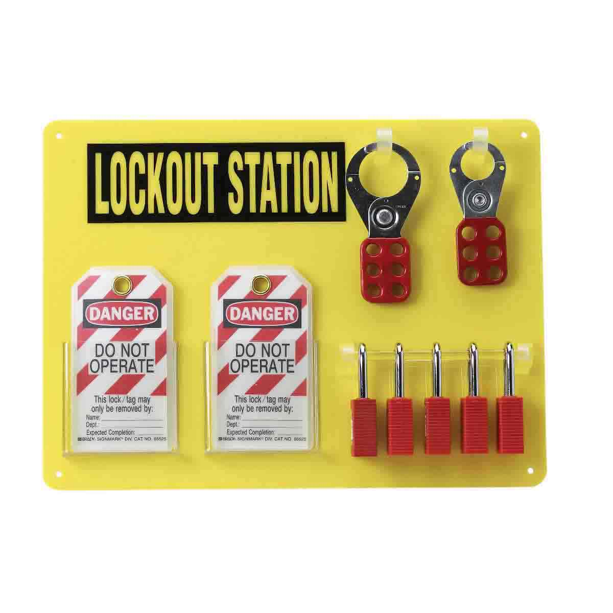 Brady® 51181 Padlock Center Lockout Station, Filled, 19 Pieces, 5 Padlocks, 11-1/2 in H x 15-1/2 in W x 3/16 in D, Wall Mount, Language: English