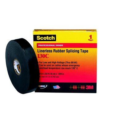 3M™ 130C-2x30FT Linerless Premium Grade Electrical Tape, 30 ft L x 2 in W, 30 mil THK, Rubber, Rubber Adhesive, Rubber Backing, Black