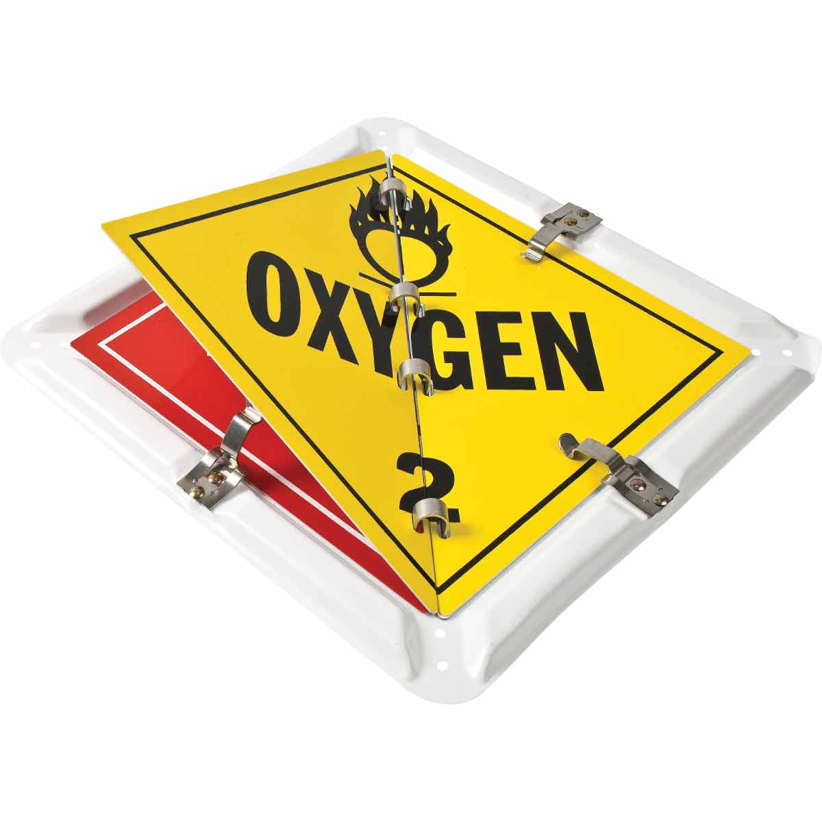 Brady® 63200 Diamond Flip File Placard Sign, BLANK, FLAMMABLE GAS, NON FLAMMABLE GAS, OXYGEN, USED FOR WELDING SUPPLY AND MEDIUM VAN Legend, Assorted, 13-5/8 in H, Aluminum