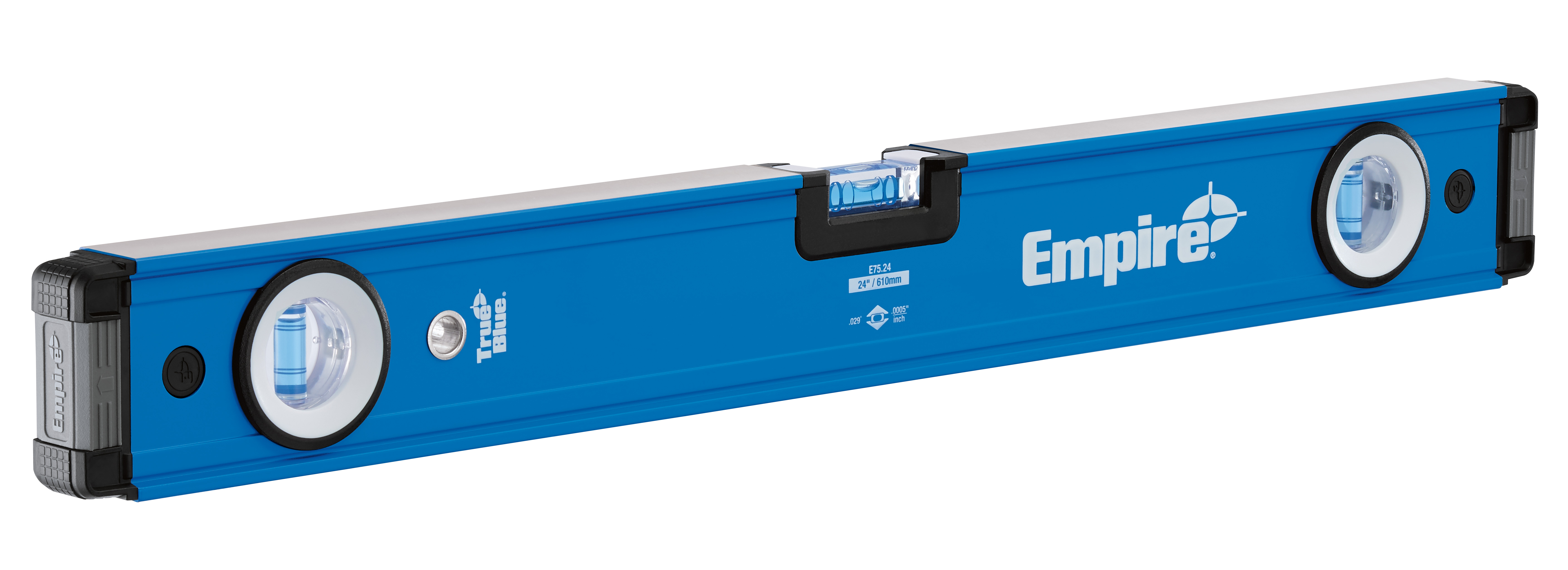 Milwaukee® Empire® TRUE BLUE® E75.24 E75 Box Level, 24 in L, 3 Vials, Aluminum, (1) Level, (2) Plumb Vial Position, 0.0005 in/in Accuracy