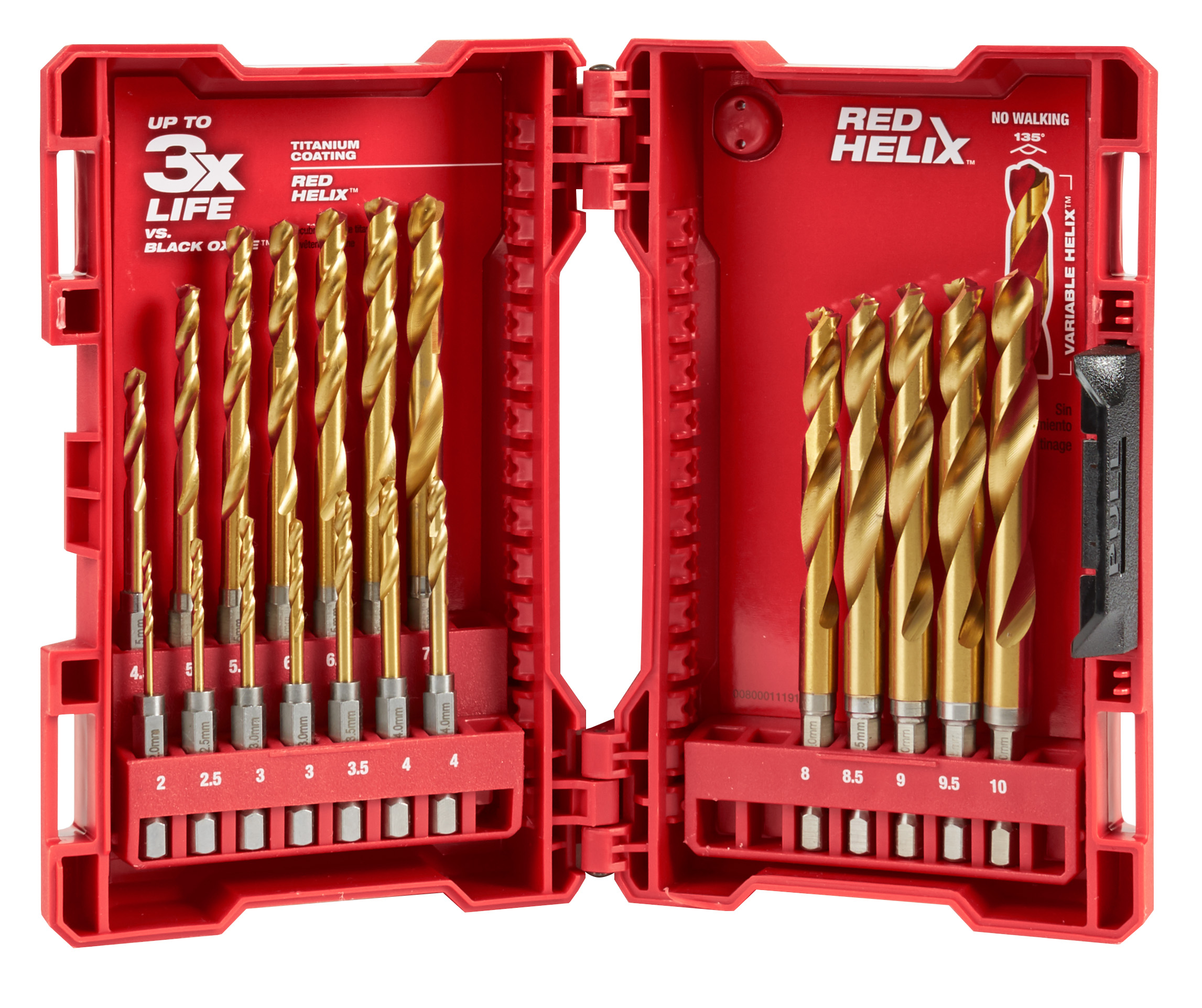 Milwaukee® SHOCKWAVE™ RED HELIX® Impact Duty® 48-89-4860 Drill Bit Set, 2 mm Min Drill Bit, 10 mm Max Drill Bit, 135 deg Drill Point Angle, 19 Pieces, Titanium Coated