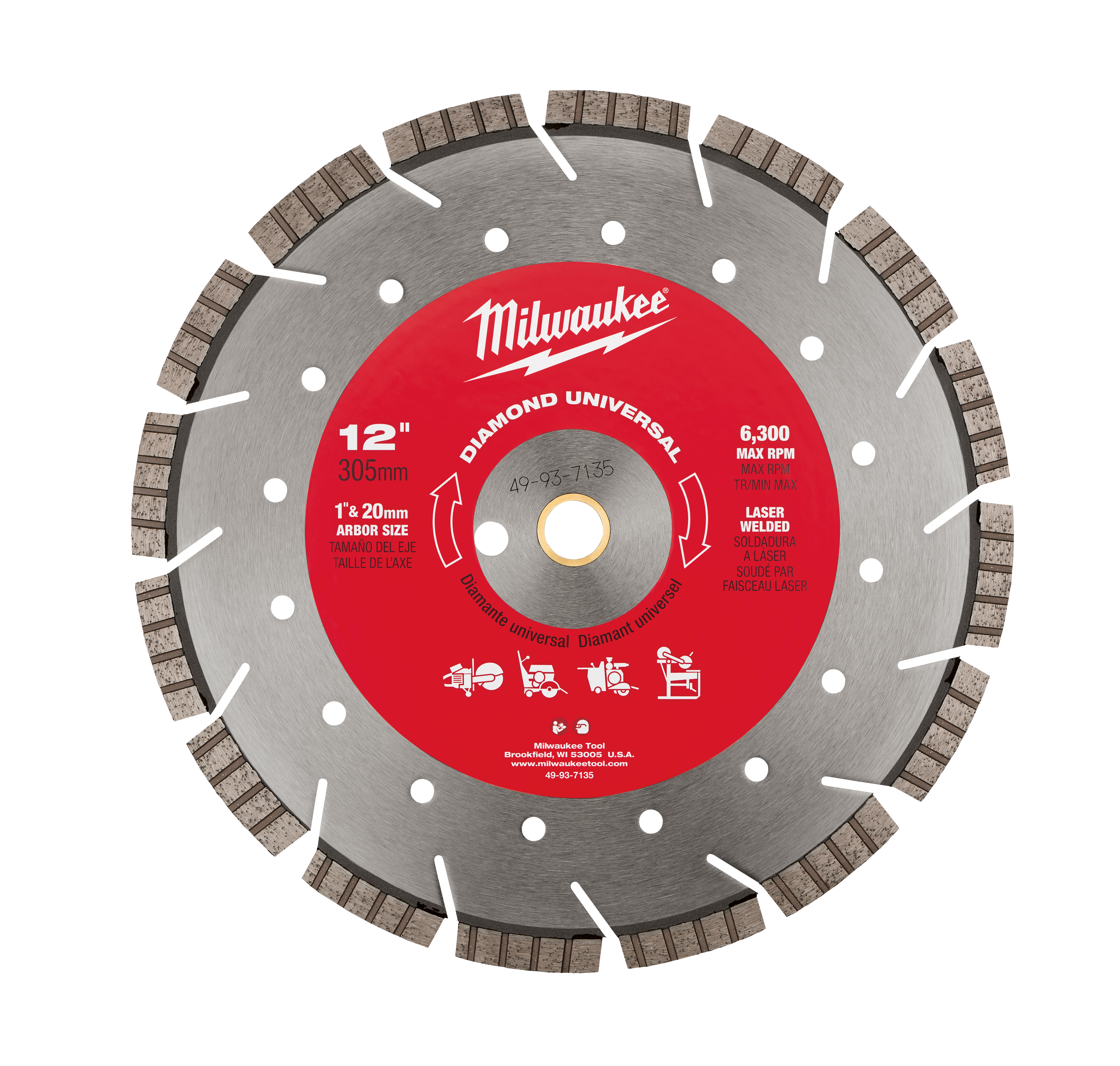 Milwaukee® 49-93-7135 Universal Segmented Turbo Circular Diamond Saw Blade, 12 in Dia Blade, 1 in, 20 mm Arbor/Shank, Dry/Wet Cutting