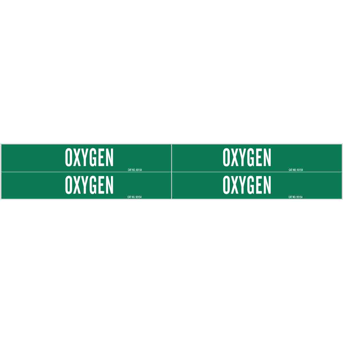 Brady® 7210-4 4 Style Pipe Marker, OXYGEN Legend, White on Green, Fits Pipe Dia: 1 to 2-1/2 in, 1-1/8 in H x 7 in W, B-946 Vinyl, Self-Adhesive Mount