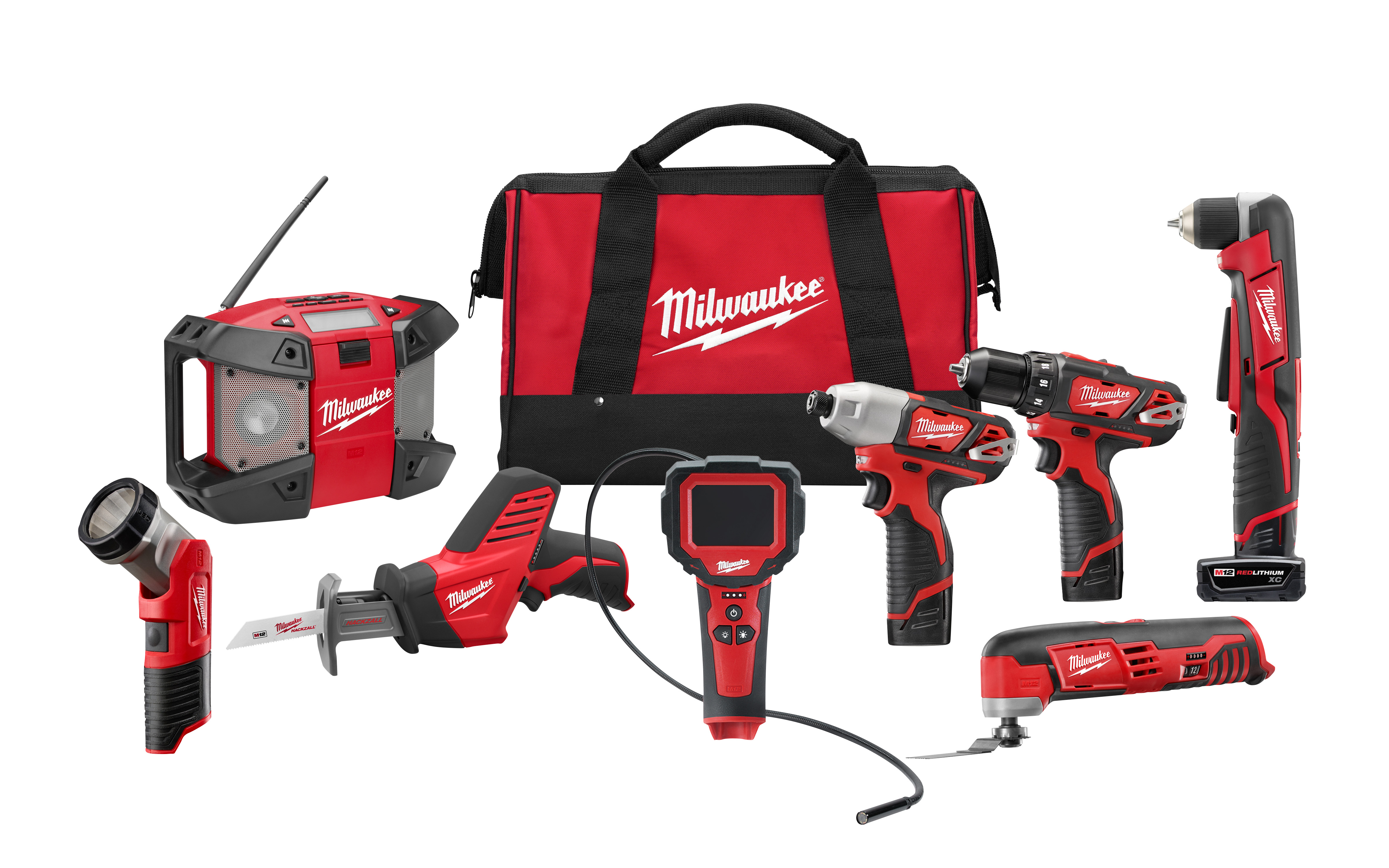 Milwaukee® M12™ 2495-28 8-Tool Cordless Combination Kit, Tools: Drill, Impact Driver, Oscillating Tool, Reciprocating Saw, Right Angle Drill, 12 VDC, 1.5 Ah Lithium-Ion, Keyless Blade