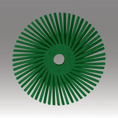 3M™ Scotch-Brite™ 24276 Quick-Change Radial Bristle Disc Brush, 3 in Dia Brush, No Hole Arbor Hole, 50 Grit, Coarse Grade, Ceramic Fill