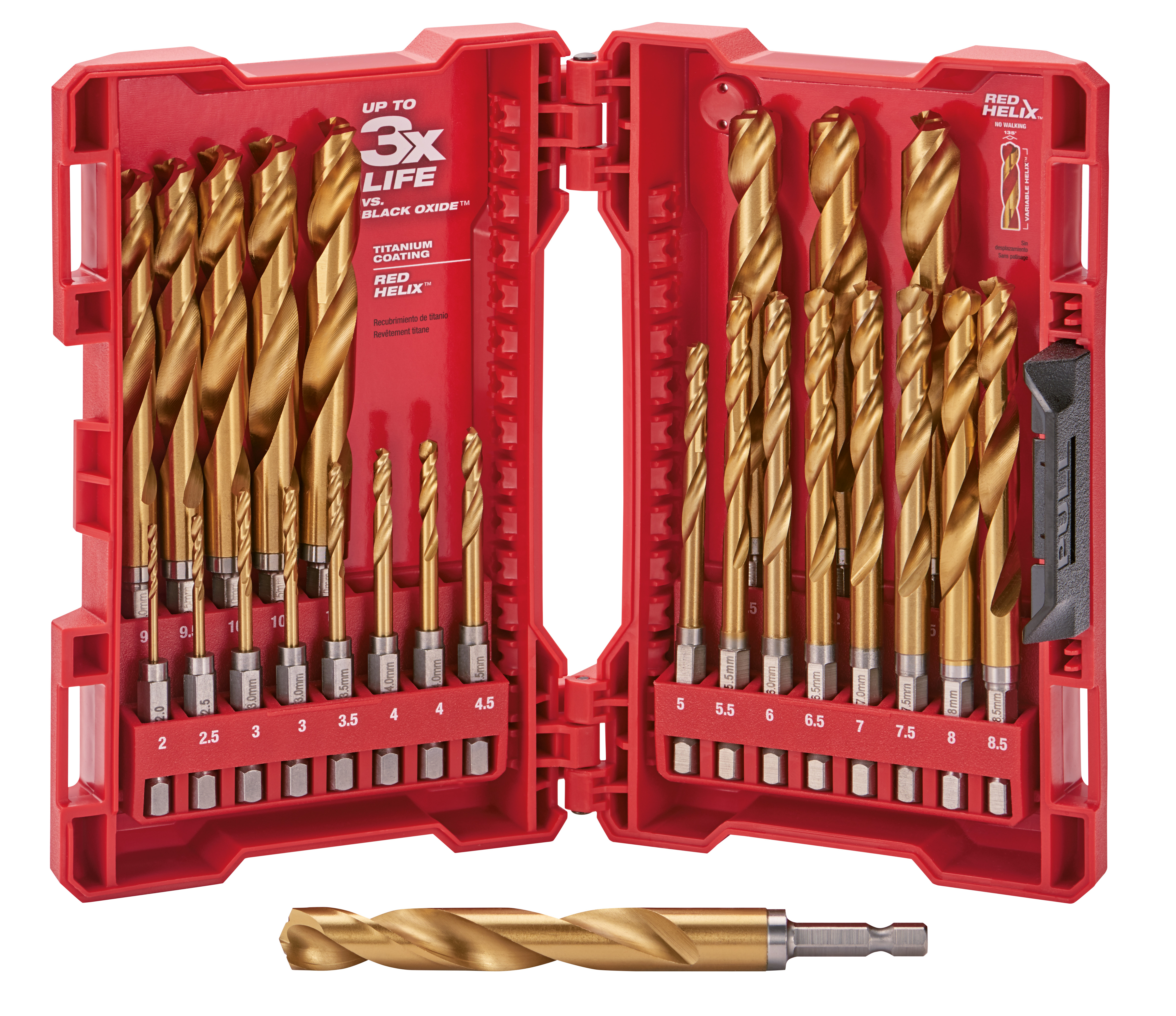 Milwaukee® SHOCKWAVE™ RED HELIX® Impact Duty® 48-89-4861 Drill Bit Set, 2 mm Min Drill Bit, 13 mm Max Drill Bit, 135 deg Drill Point Angle, 25 Pieces, Titanium Coated