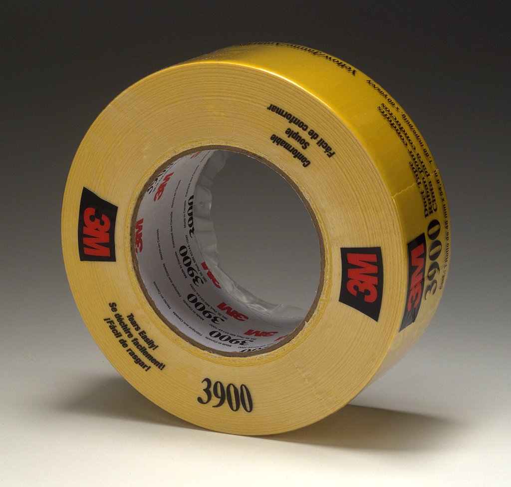 3M™ 3900-Yellow Multi-Purpose Duct Tape, 54.8 m L x 48 mm W, 7.6 mil THK, Rubber Adhesive, Polyethylene Over Cloth Scrim Backing, Yellow