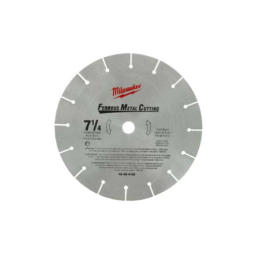 Milwaukee® 48-40-4140 Regular Kerf Circular Saw Blade With Diamond Knockout, 7-1/4 in Dia x 0.063 in THK, 5/8 in Arbor, Alloy Steel Blade