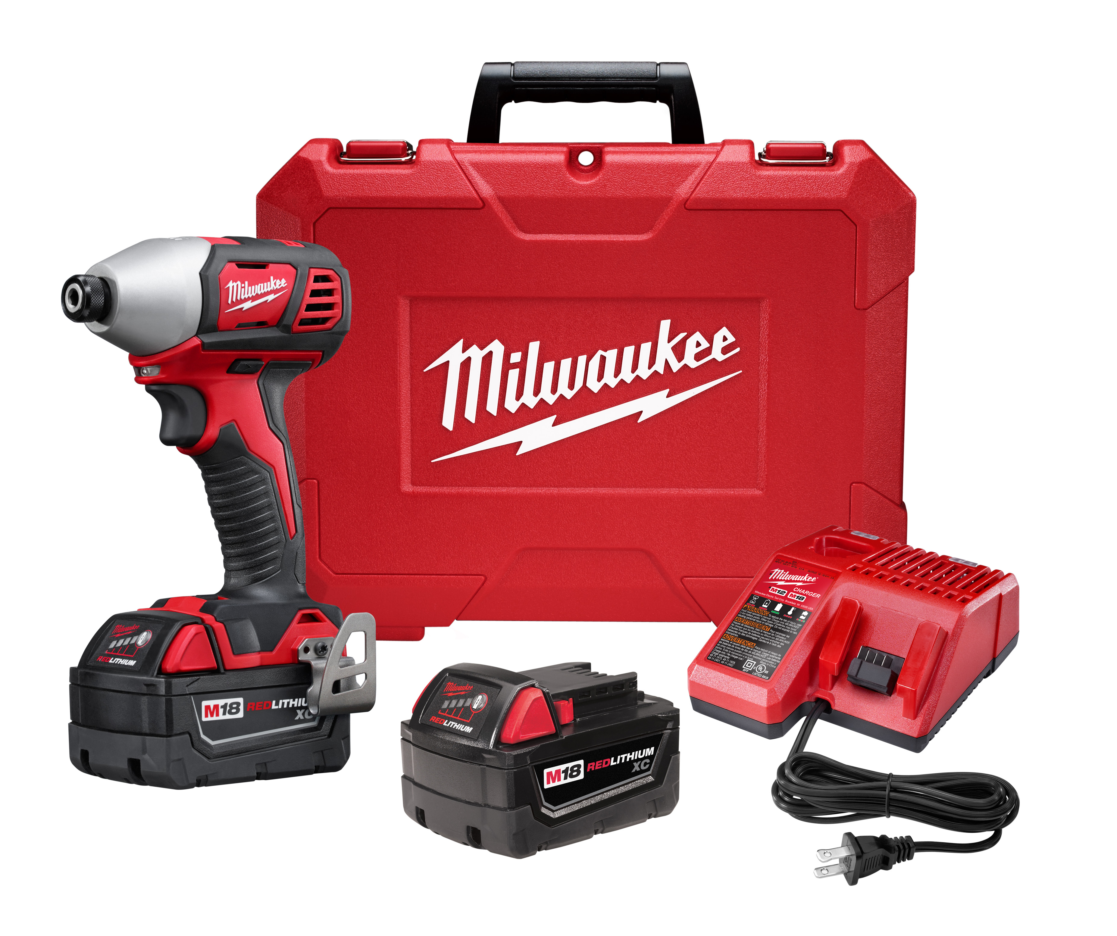 Milwaukee® M18™ 2657-22 Compact Cordless Impact Driver Kit, 1/4 in Hex/Straight Drive, 0 to 3350 bpm, 1500 in-lb Torque, 18 VAC, 5-1/2 in OAL