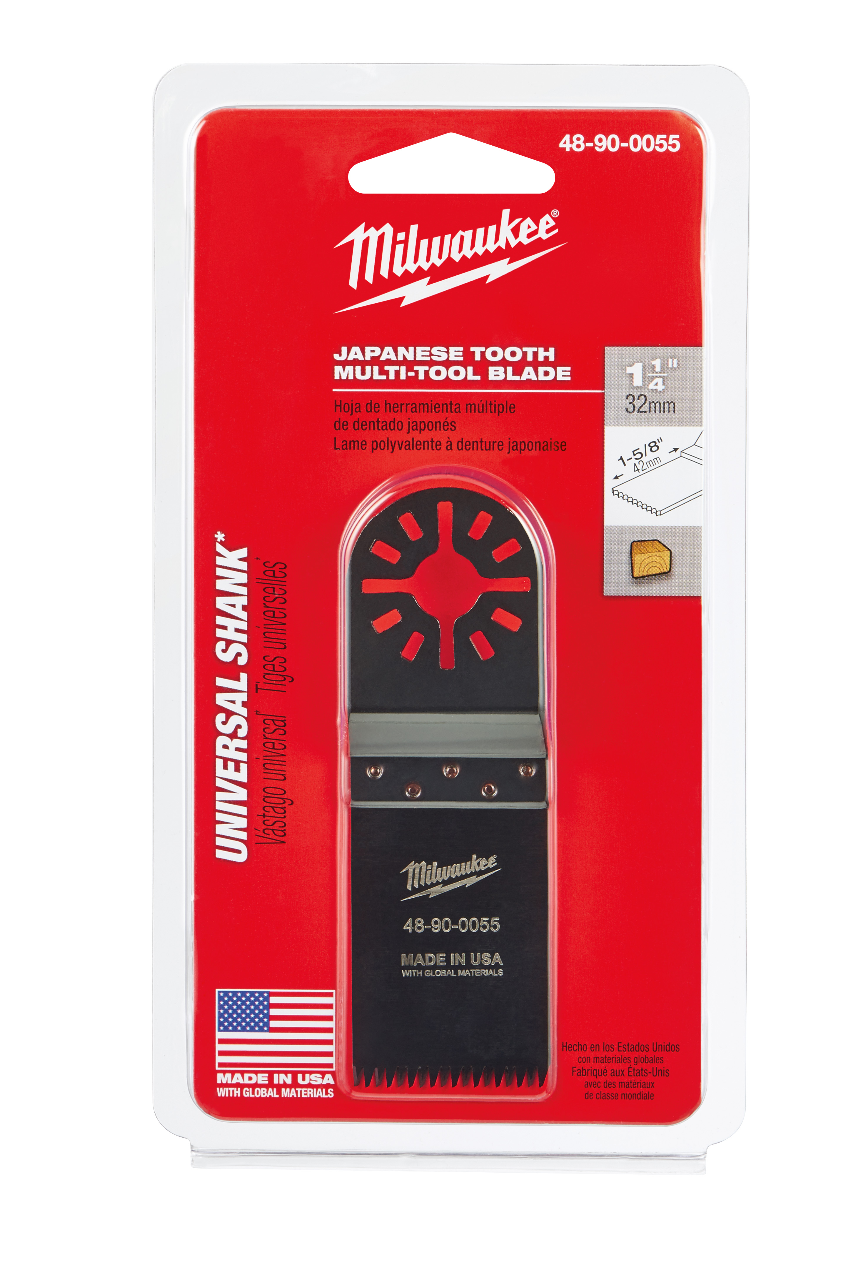 Milwaukee® 48-90-0055 Multi-Tool Blade, For Use With Oscillating Tool, 1-1/4 in Dia Cutting, High Carbon Steel