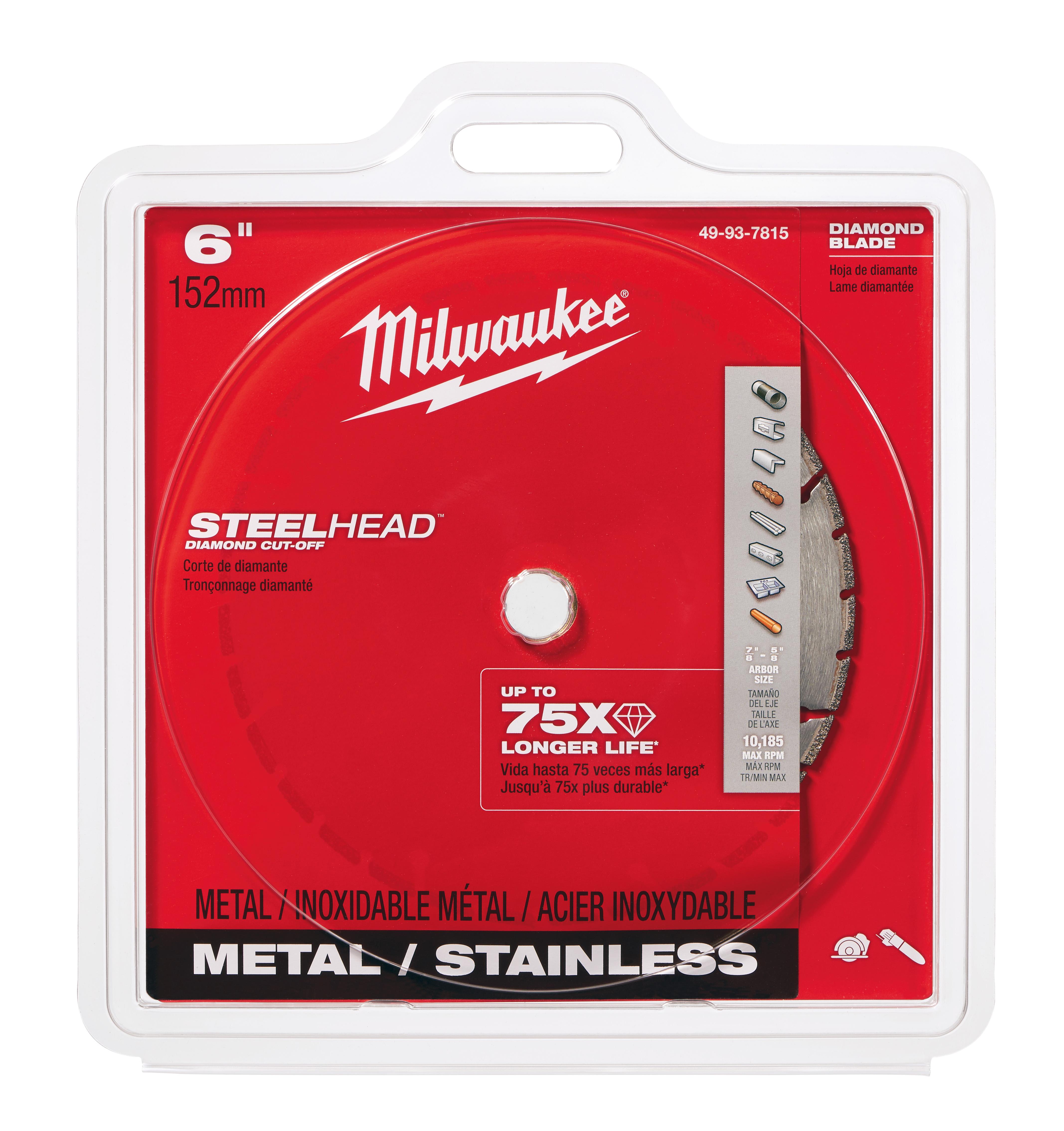 Milwaukee® 49-93-7815 Segmented Diamond Cut-Off Blade, 6 in Dia Blade, 0.05 in W, 5/8 to 7/8 in Arbor/Shank, Dry Cutting